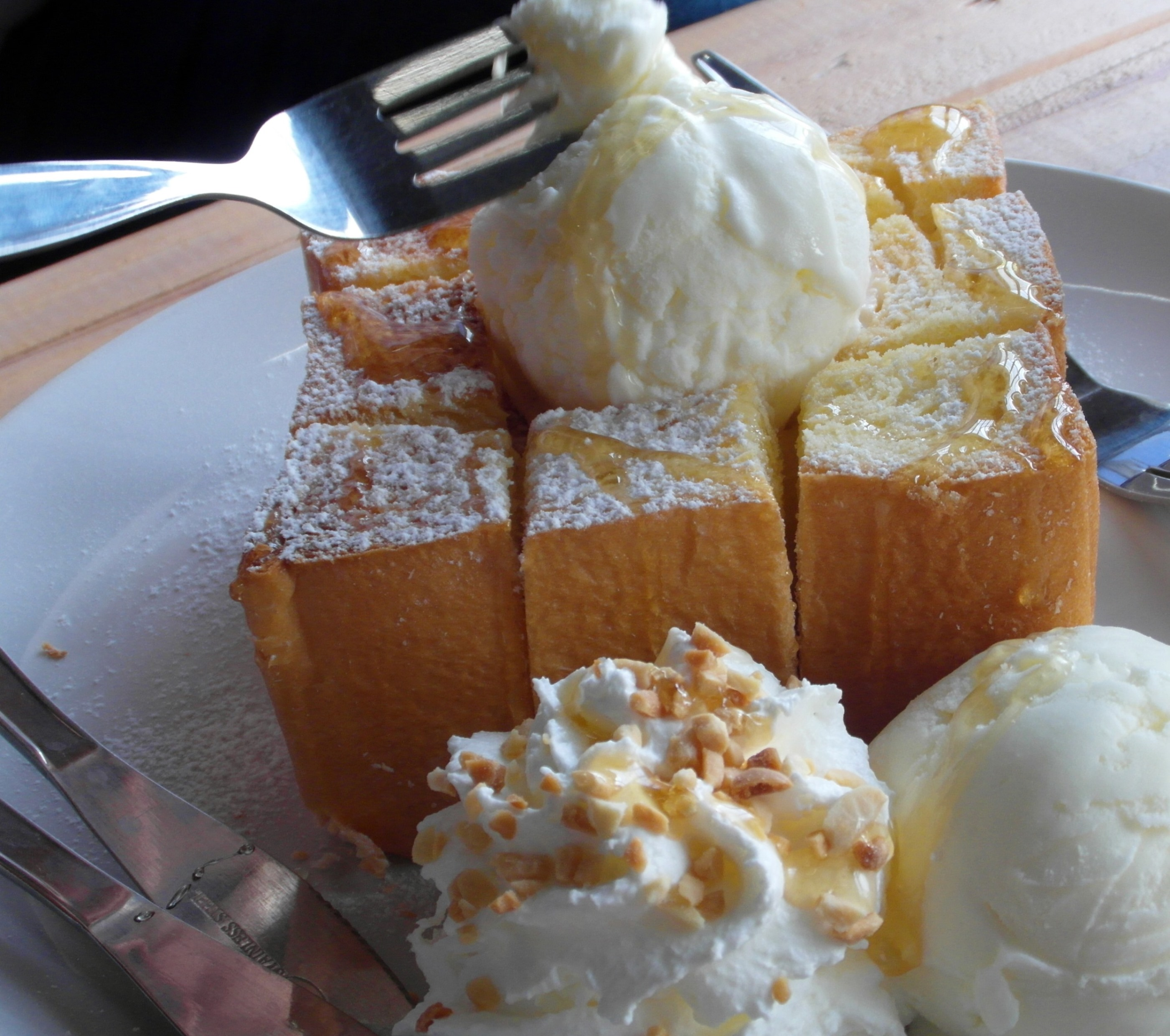 Honey toast with ice cream photo