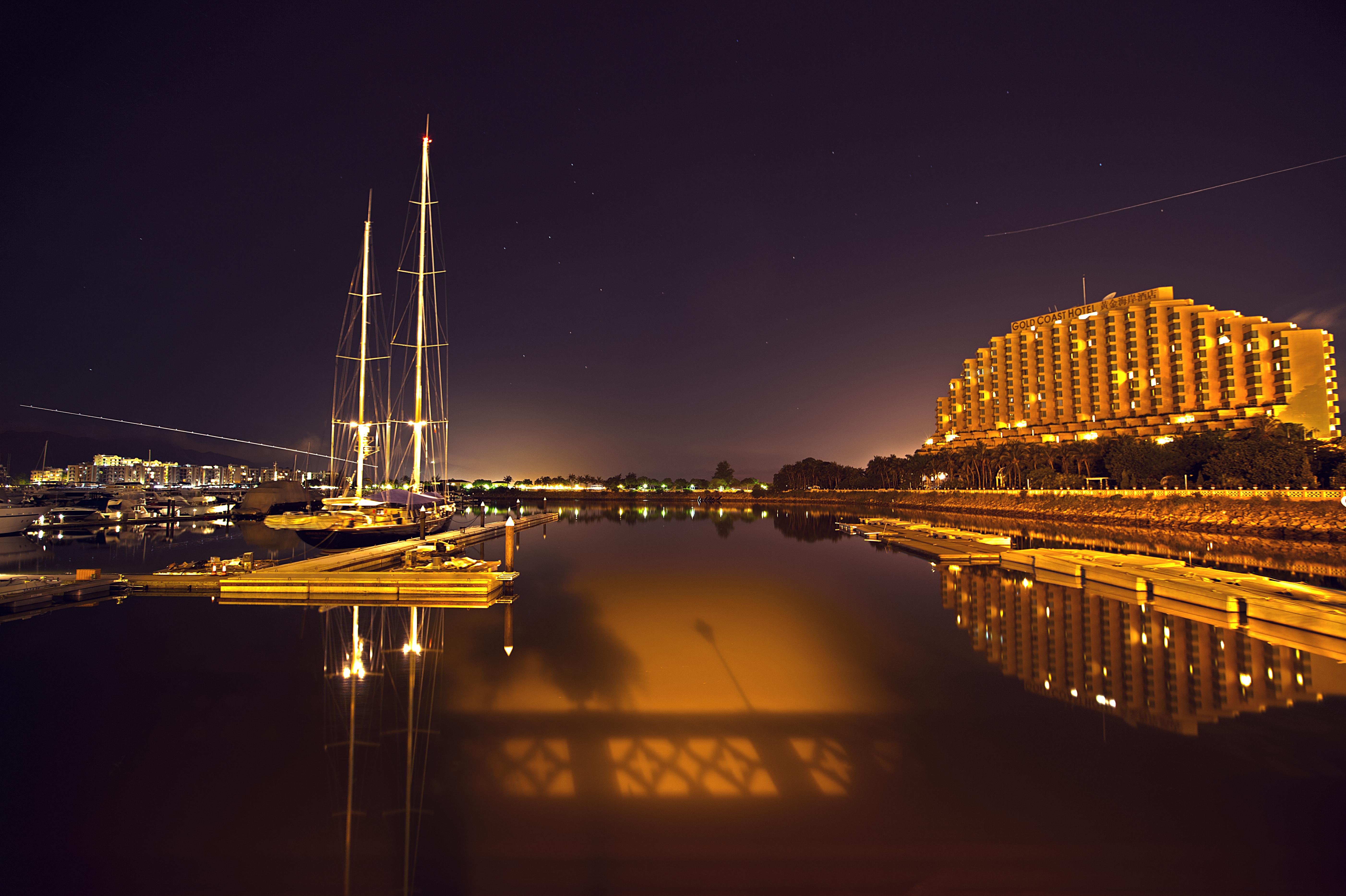 Hong kong gold coast at night photo