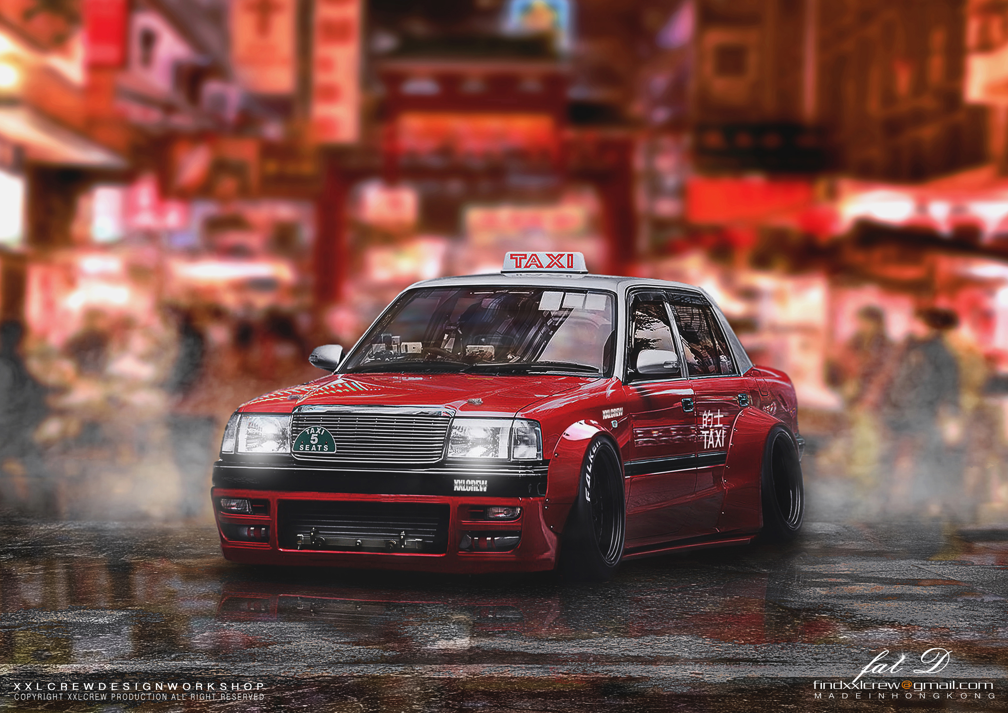 Hong Kong Taxi - Red, Car, Design, Designer, Drift, HQ Photo