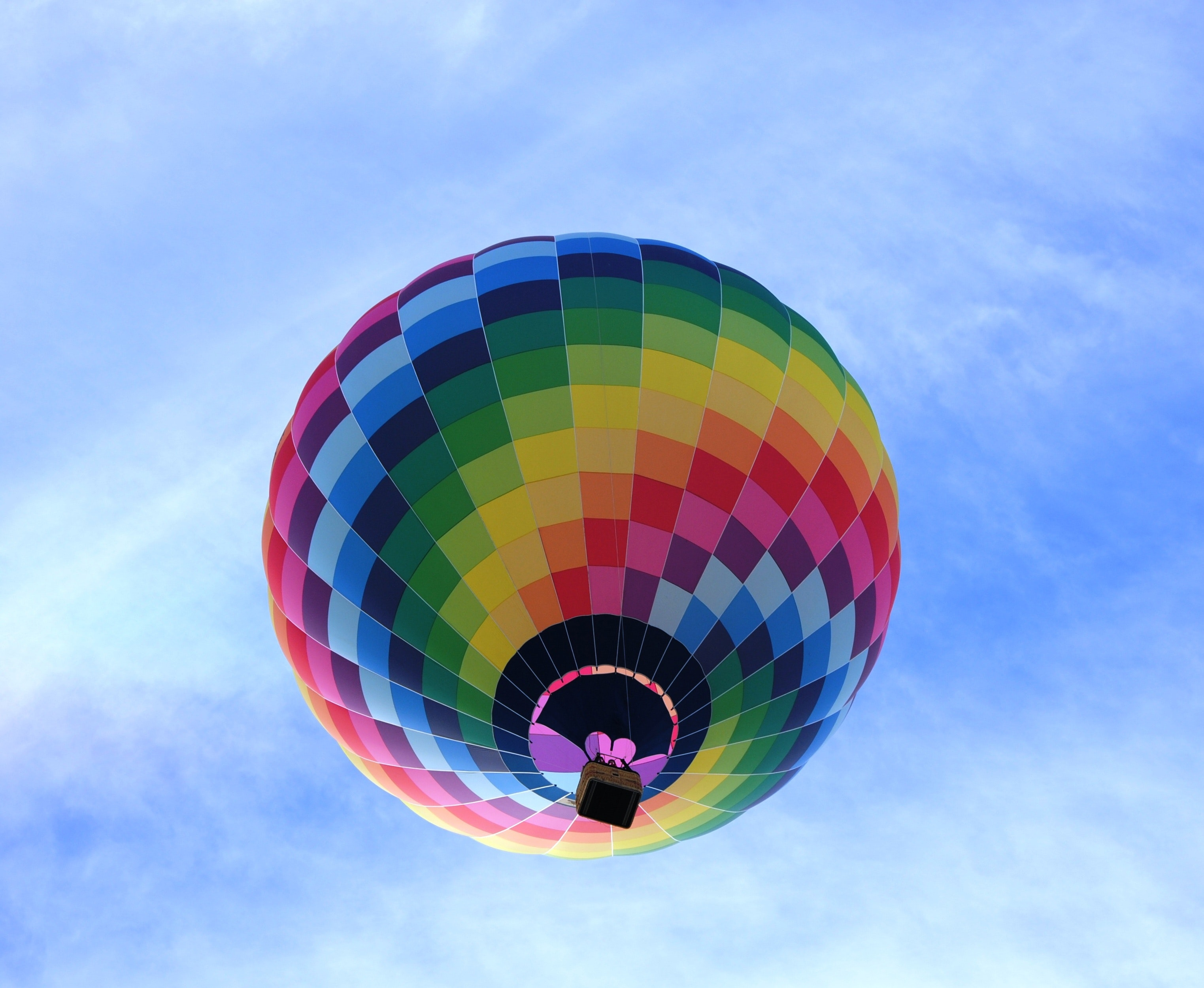 Hot air balloon flying under blue sky during daytime photo