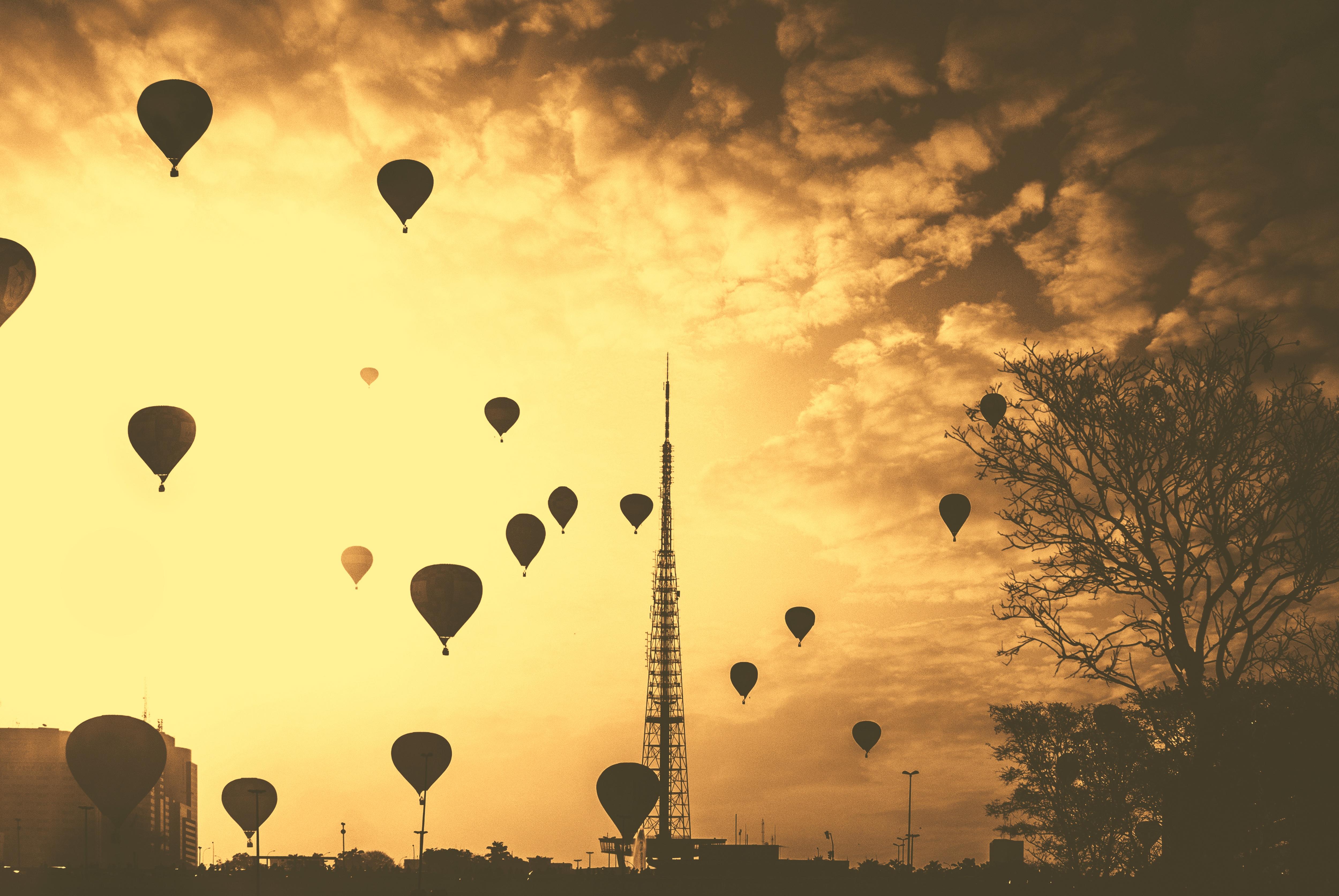 Hot Air Balloons, Air, Balloons, Buildings, City, HQ Photo