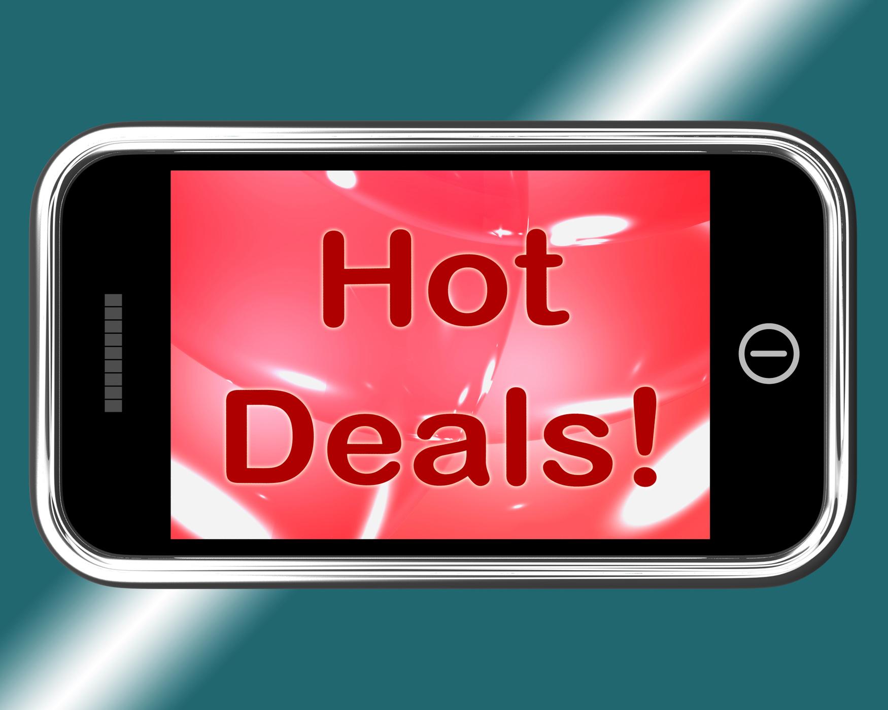 Hot deals mobile message represents discounts online photo