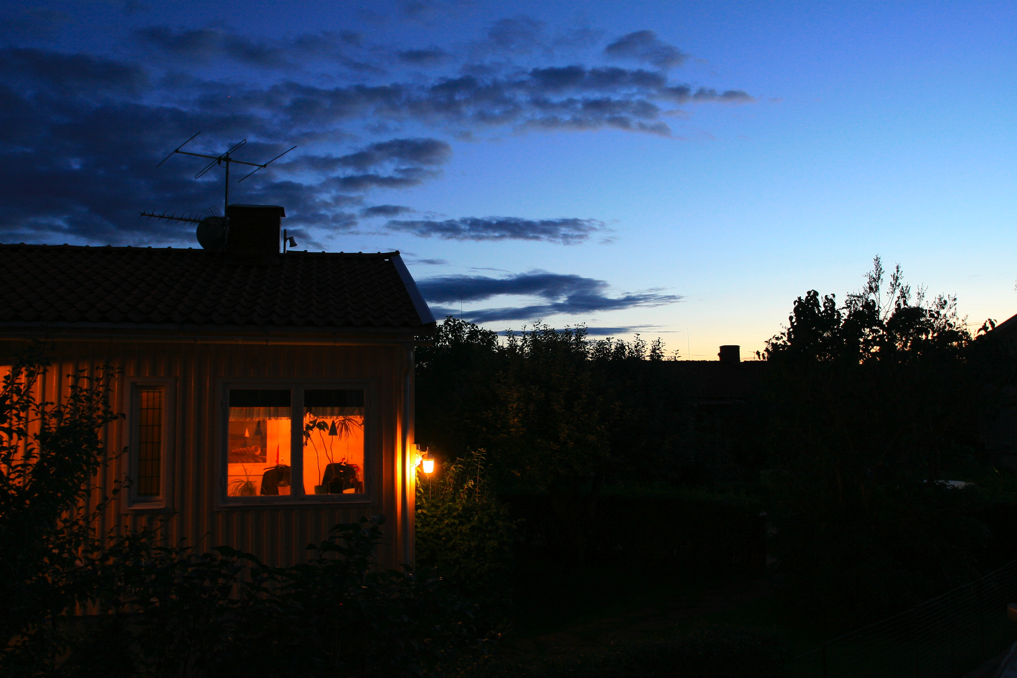 House at Night, night, sky, sunset, warm, HQ Photo