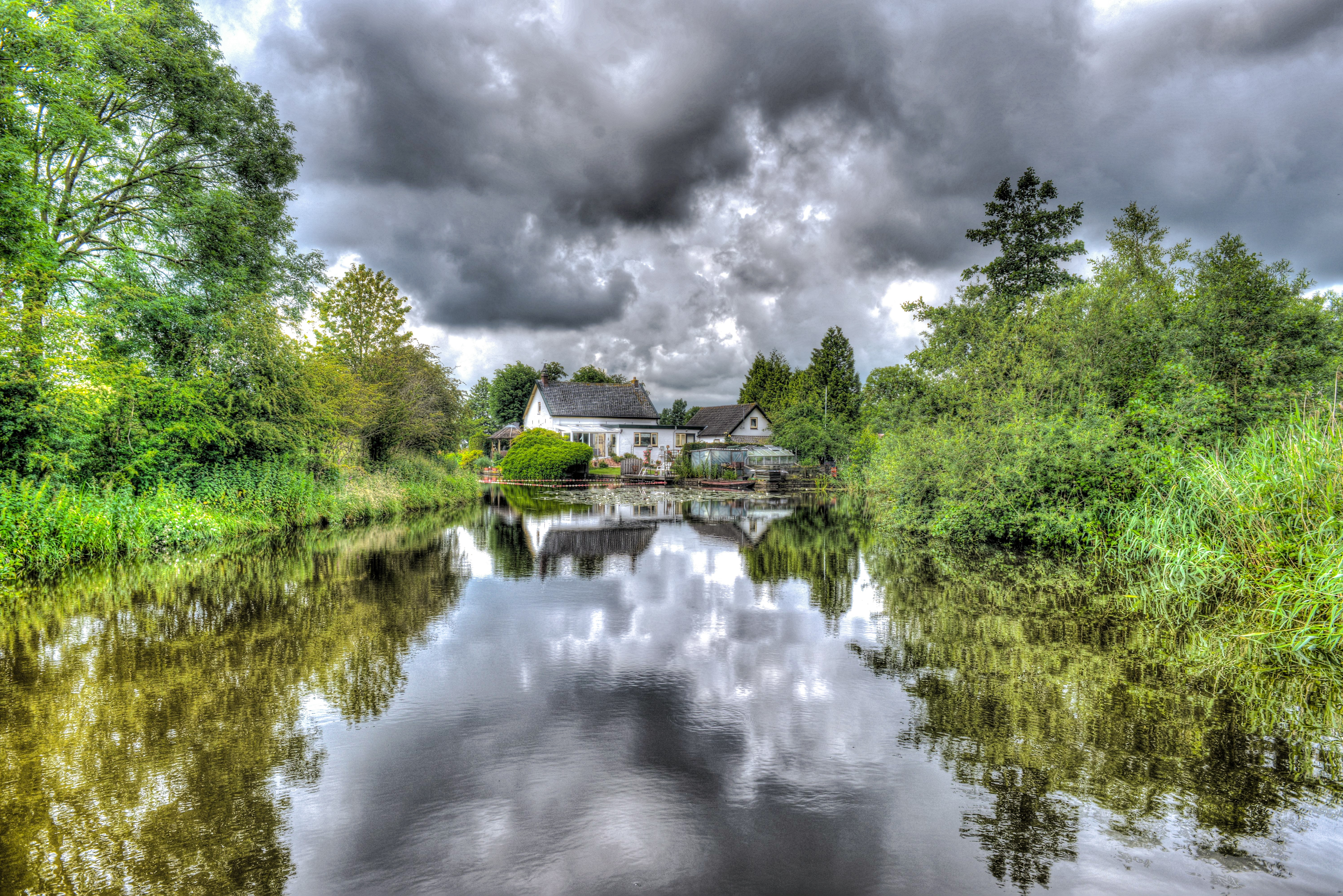 House on the Middle of the Lake, Clouds, Rural, White house, Weather, HQ Photo