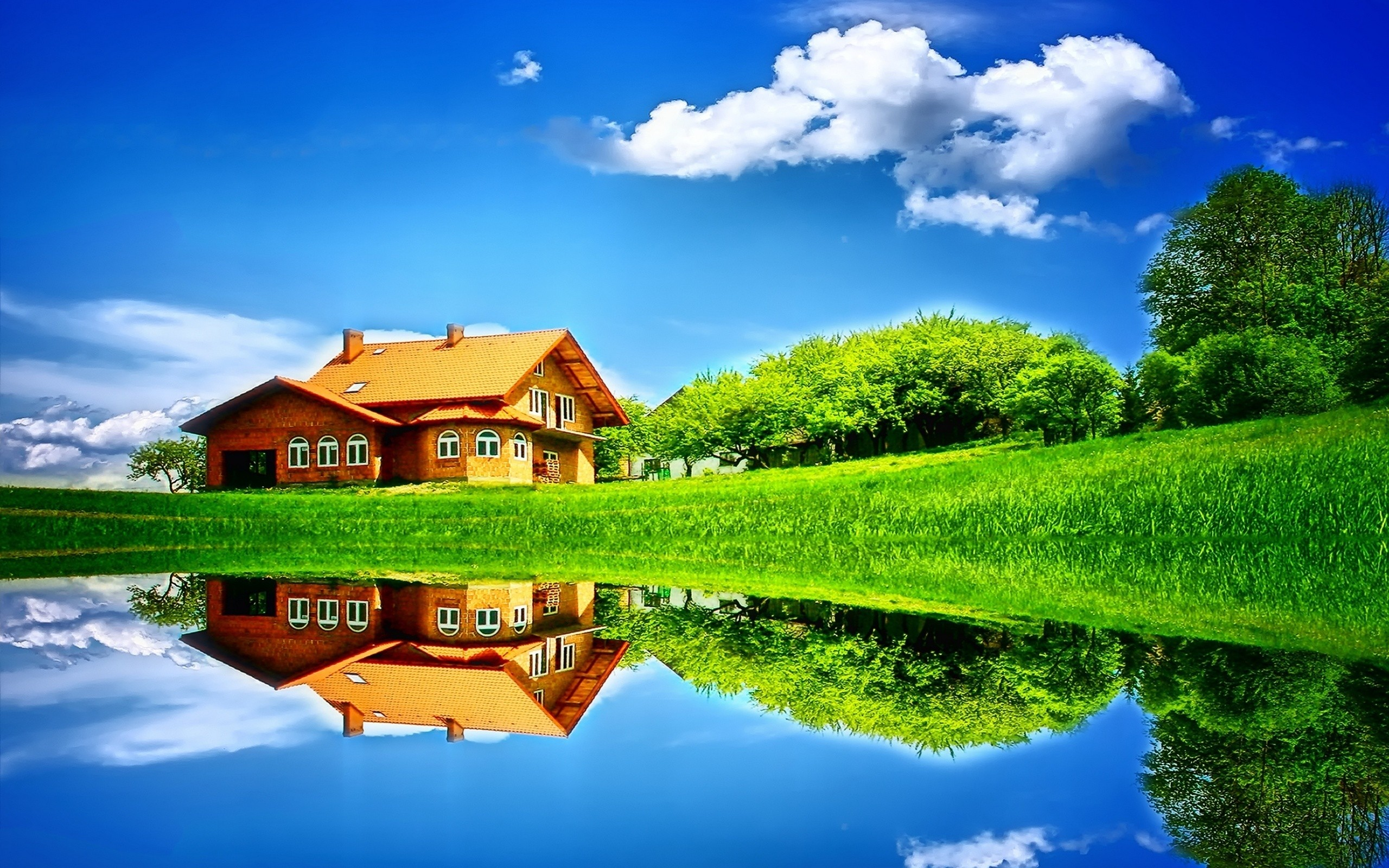 House Reflection in Water - Wallpaper #39173