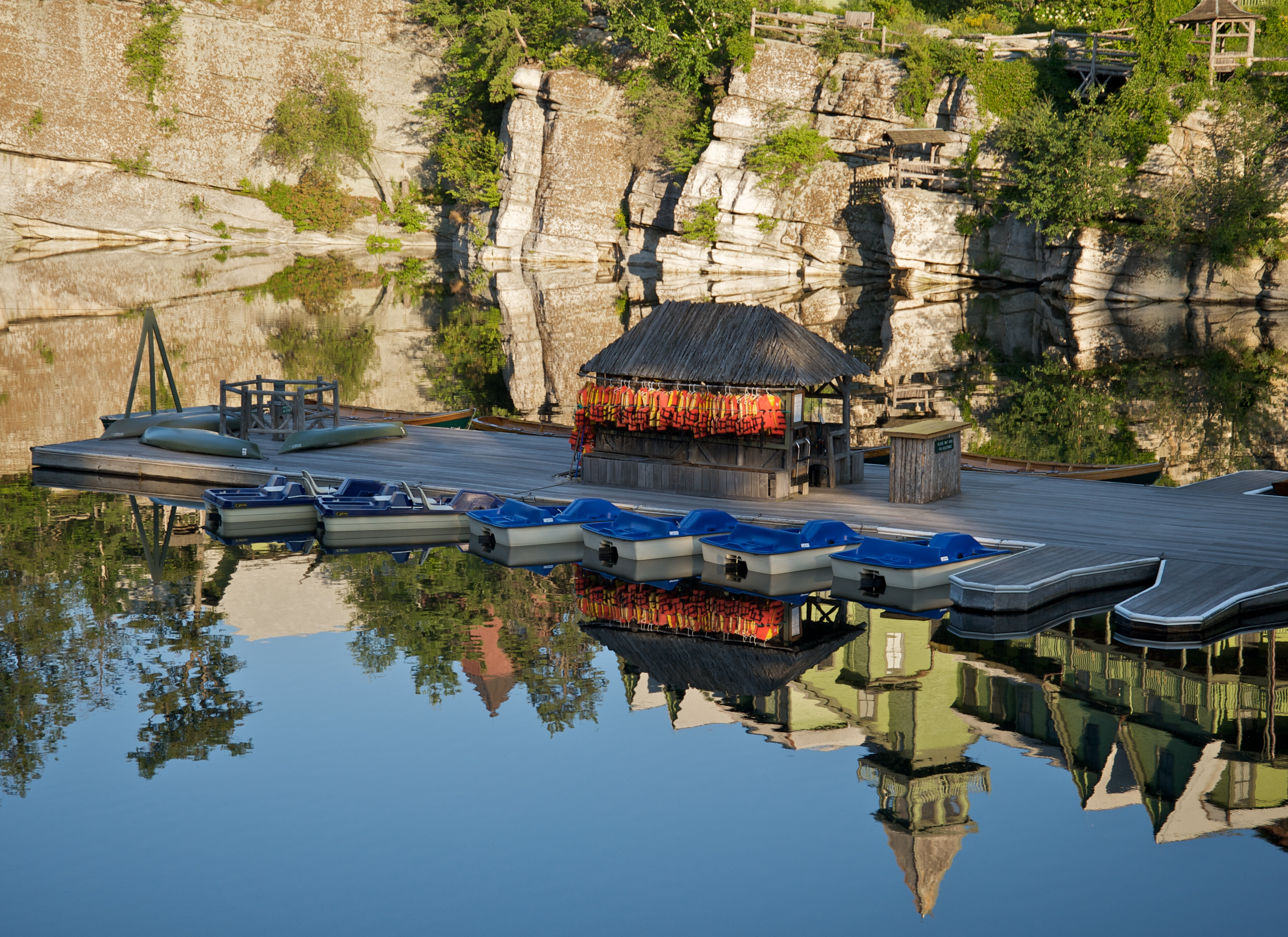 File:Mohonk Mountain House 2011 Boat Dock Against Reflection of ...