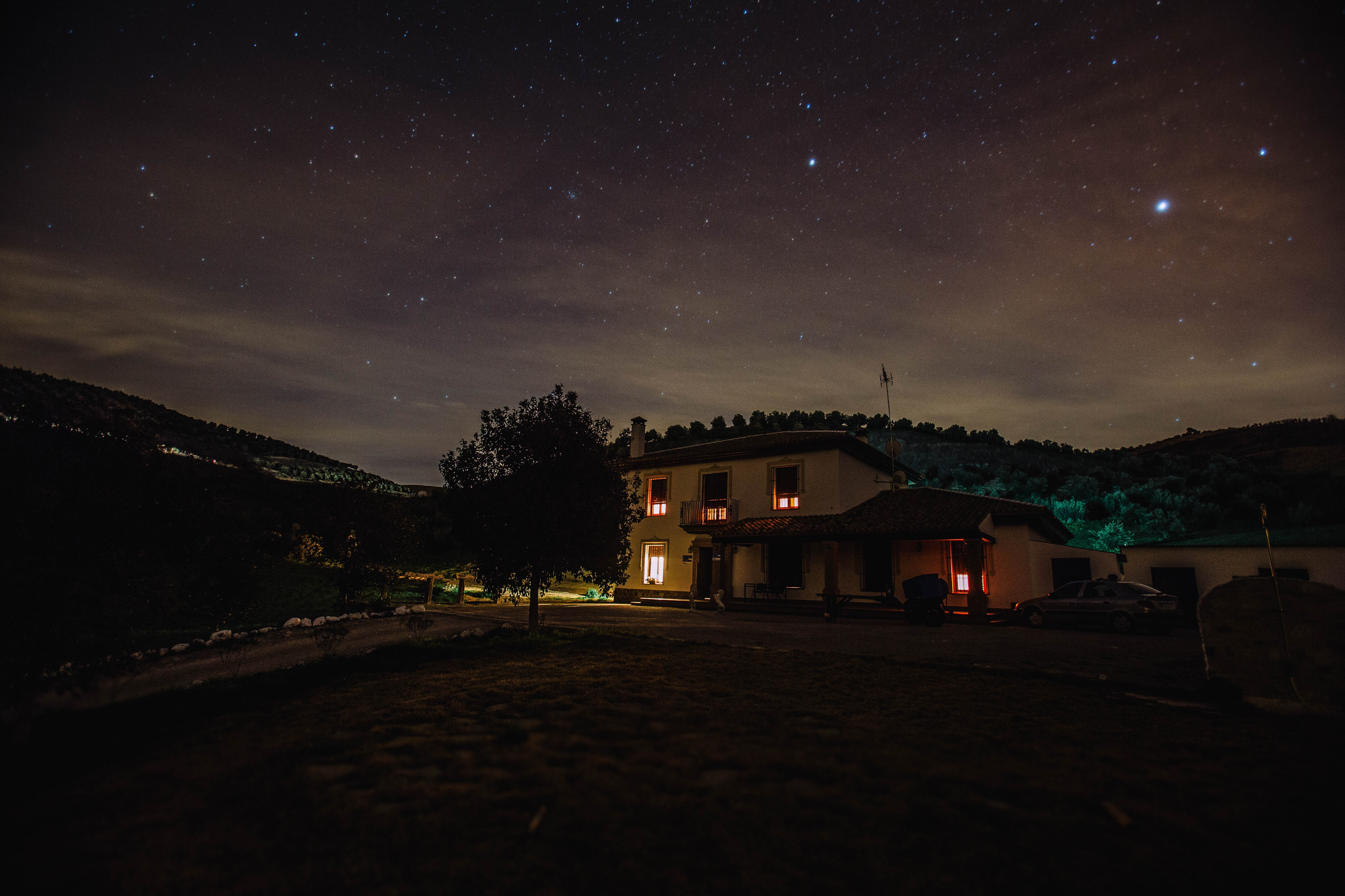 House with light during nighttime photo