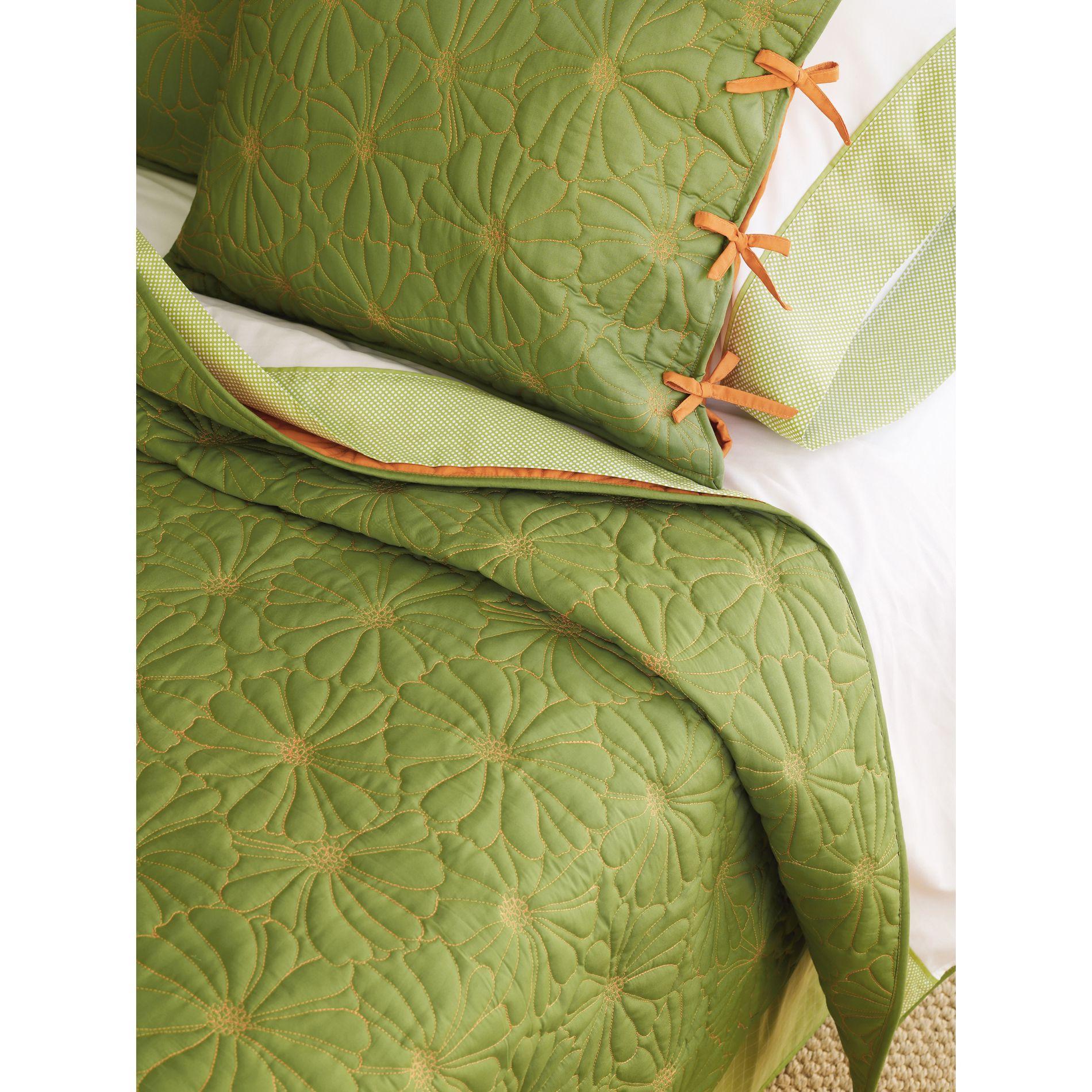 Springmaid Reversible Aris Spring Green & Apricot Coverlet