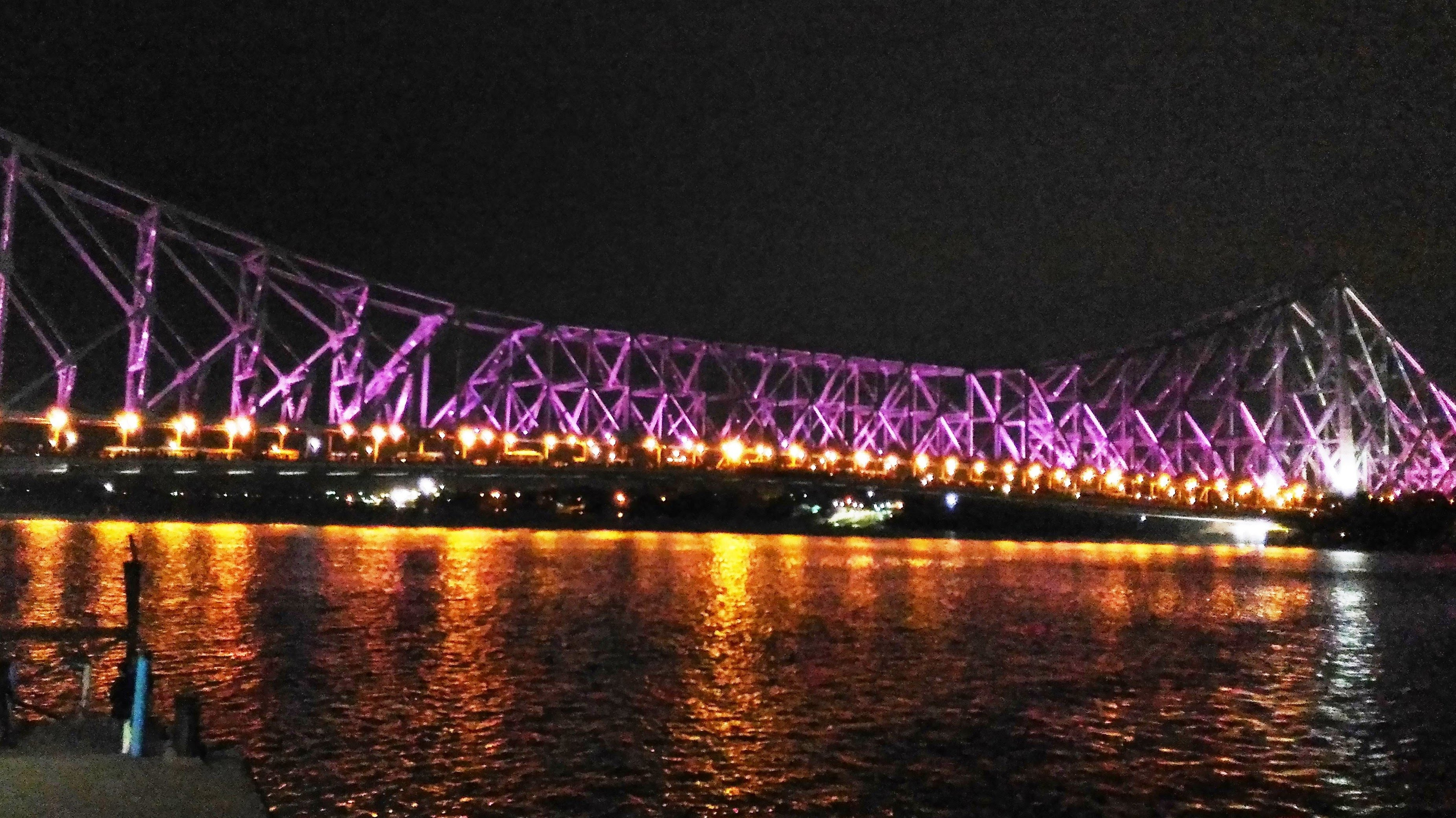 Illuminated Howrah Bridge On Ganges River At Calcutta, India HD ...