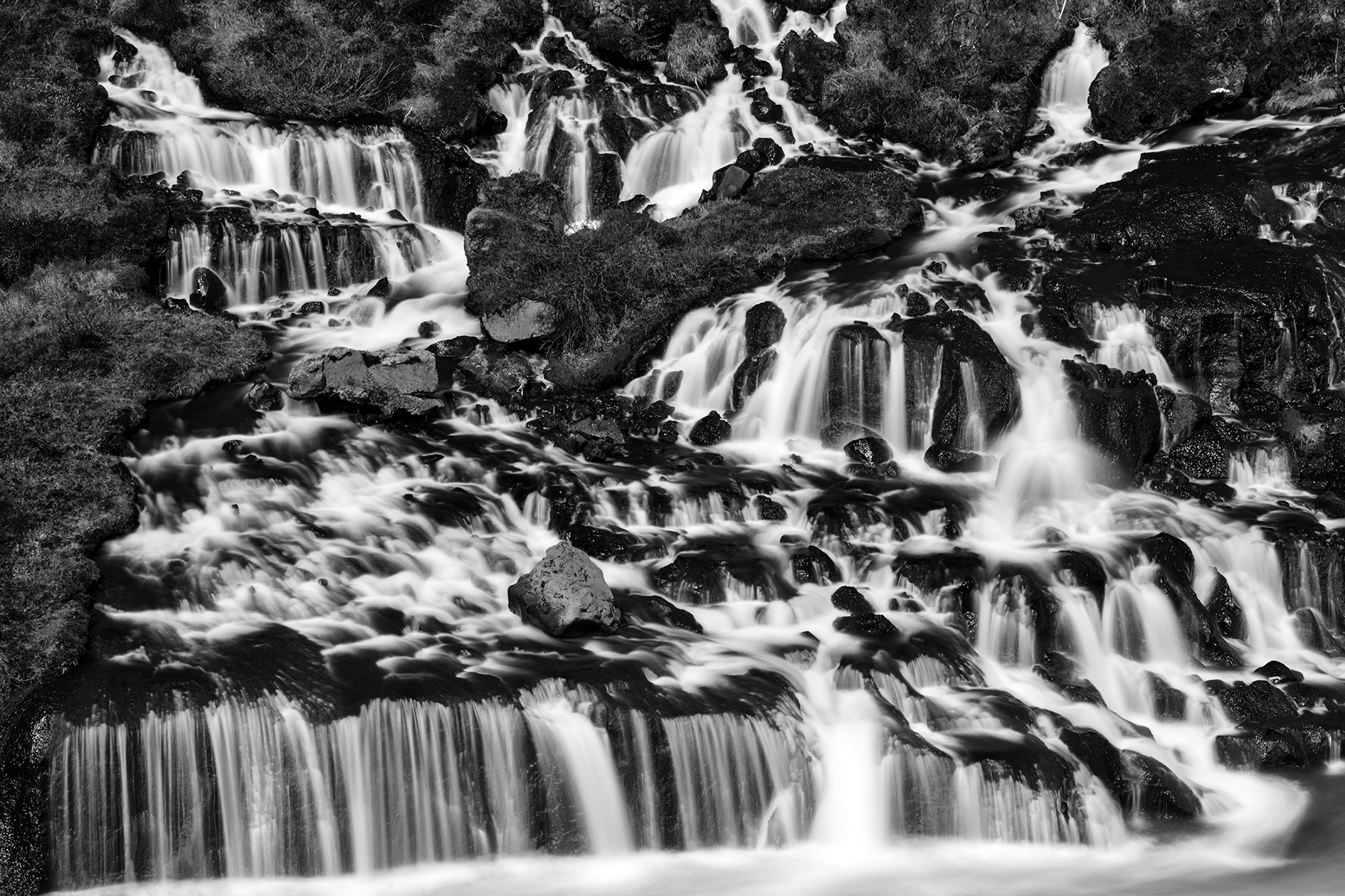 Hraunfossar cascades - black & white photo