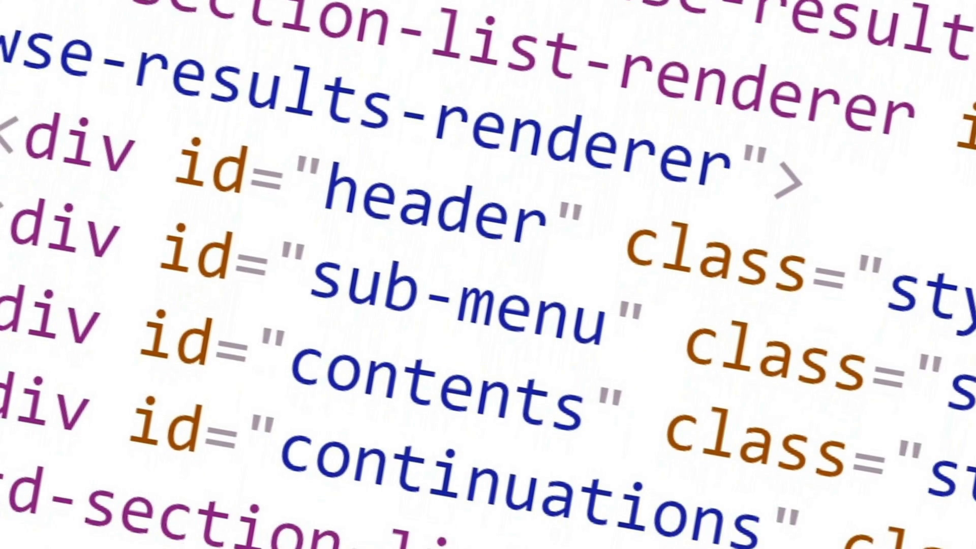 Scrolling HTML code on the computer screen on a white background ...