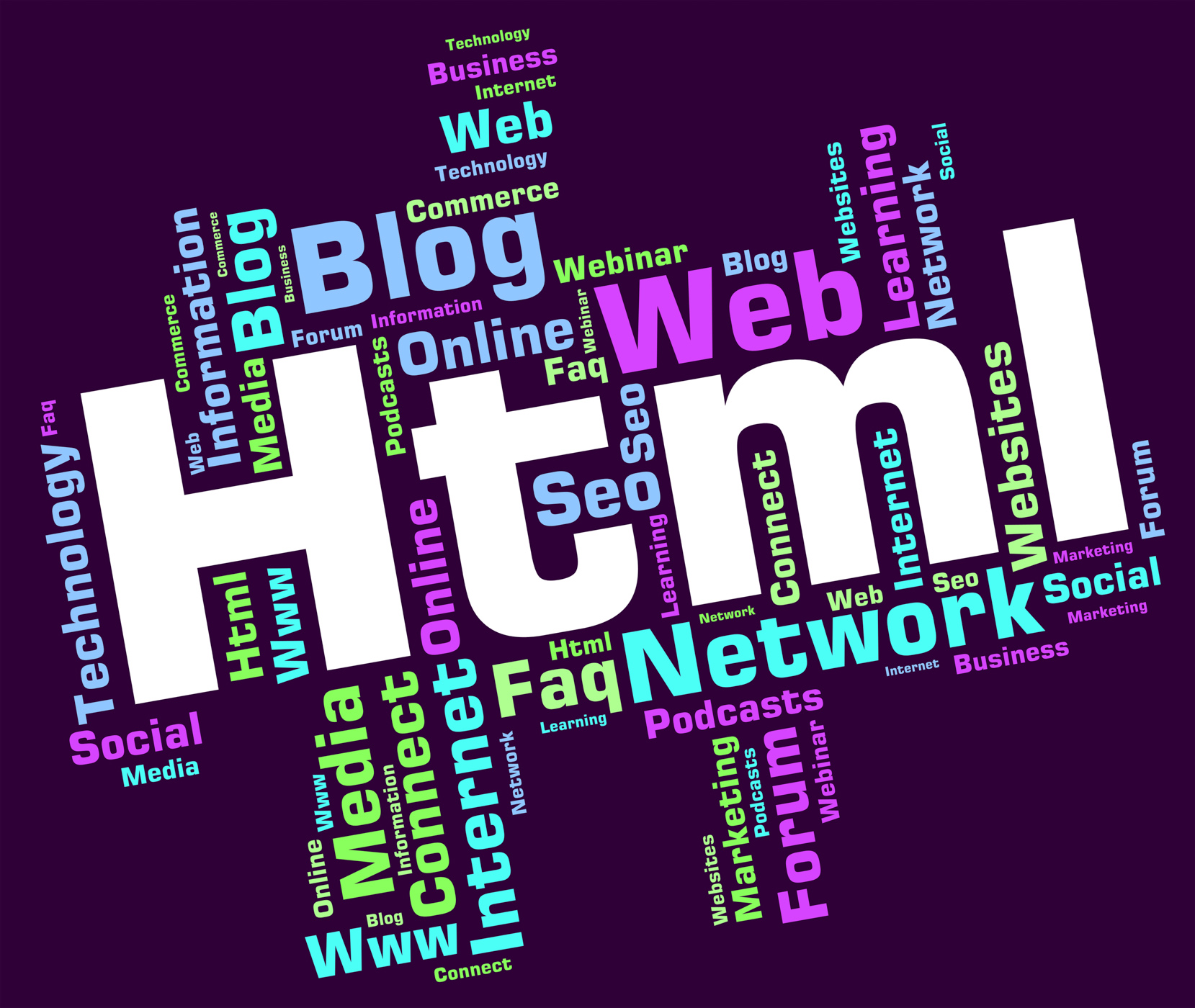 Html word indicates hypertext markup language and web photo