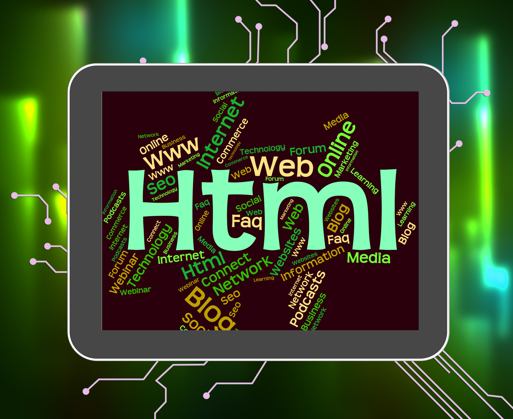 Html word indicates world wide web and code photo