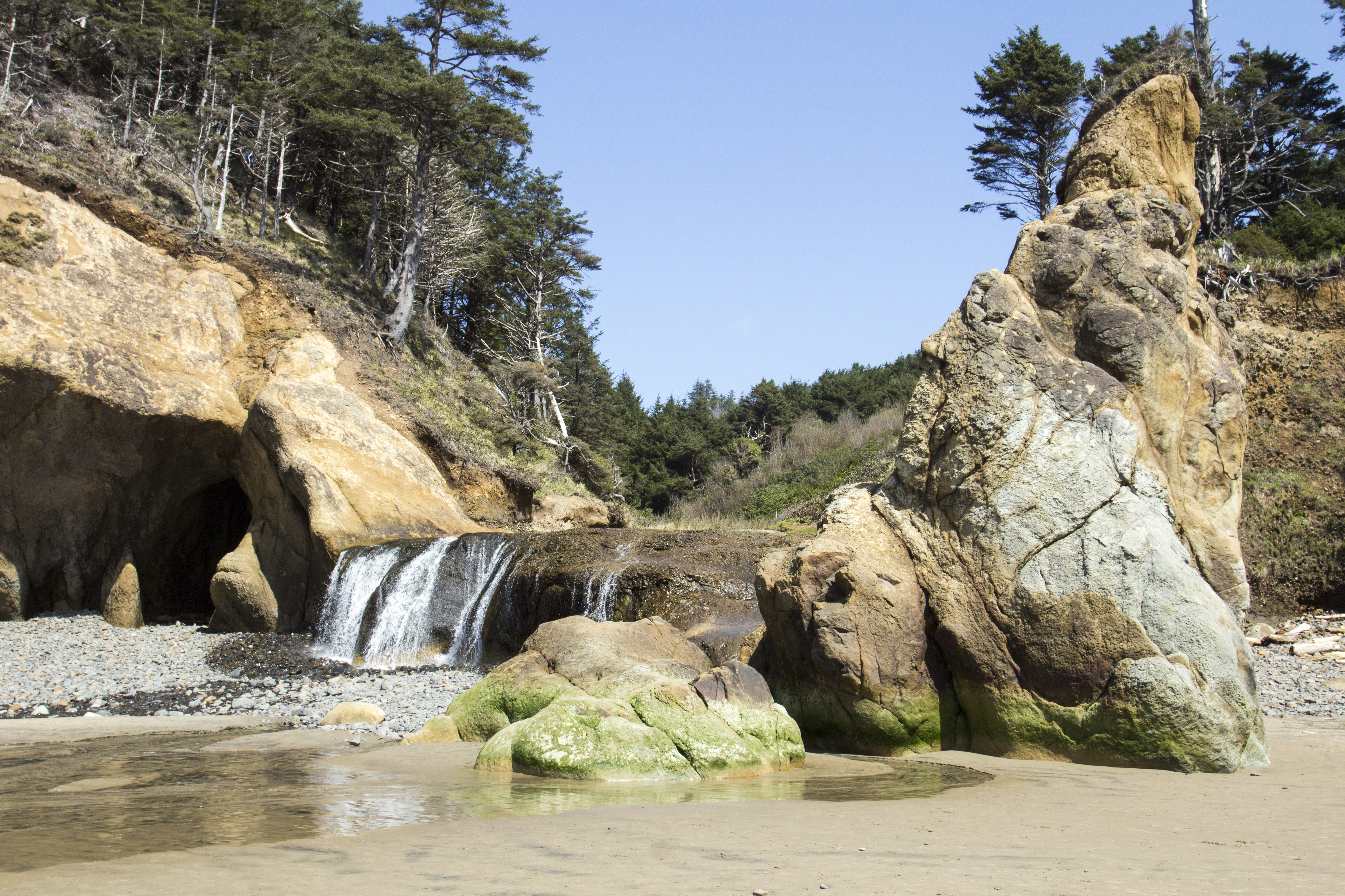 Hug beach waterfall, oregon photo