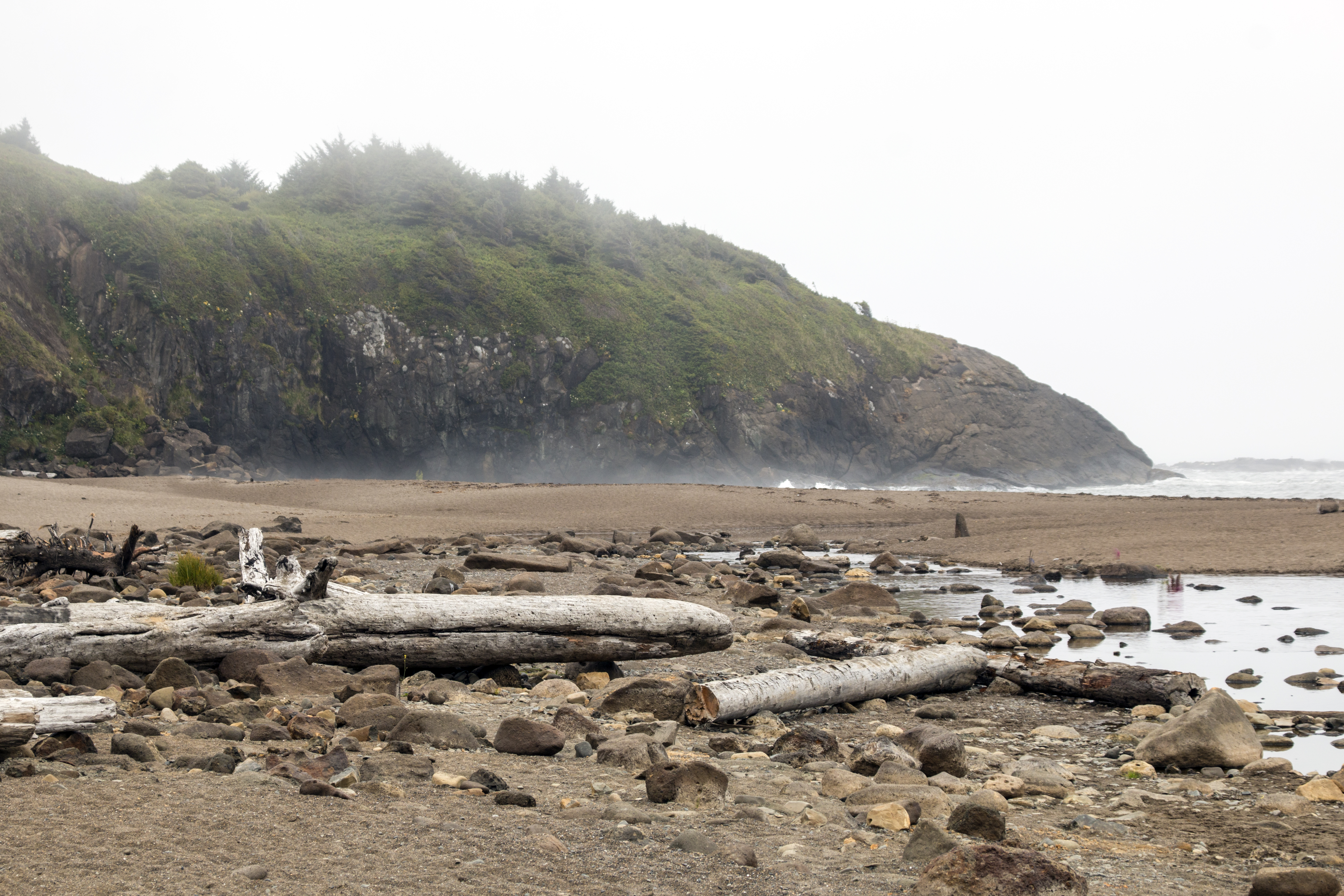 Hug point beach, oregon, foggy day photo