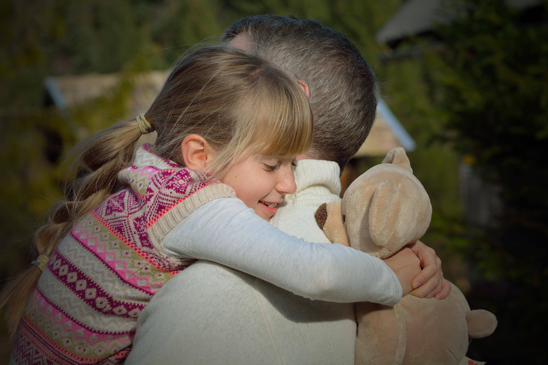 Hug, Child, Father, Girl, Kid, HQ Photo