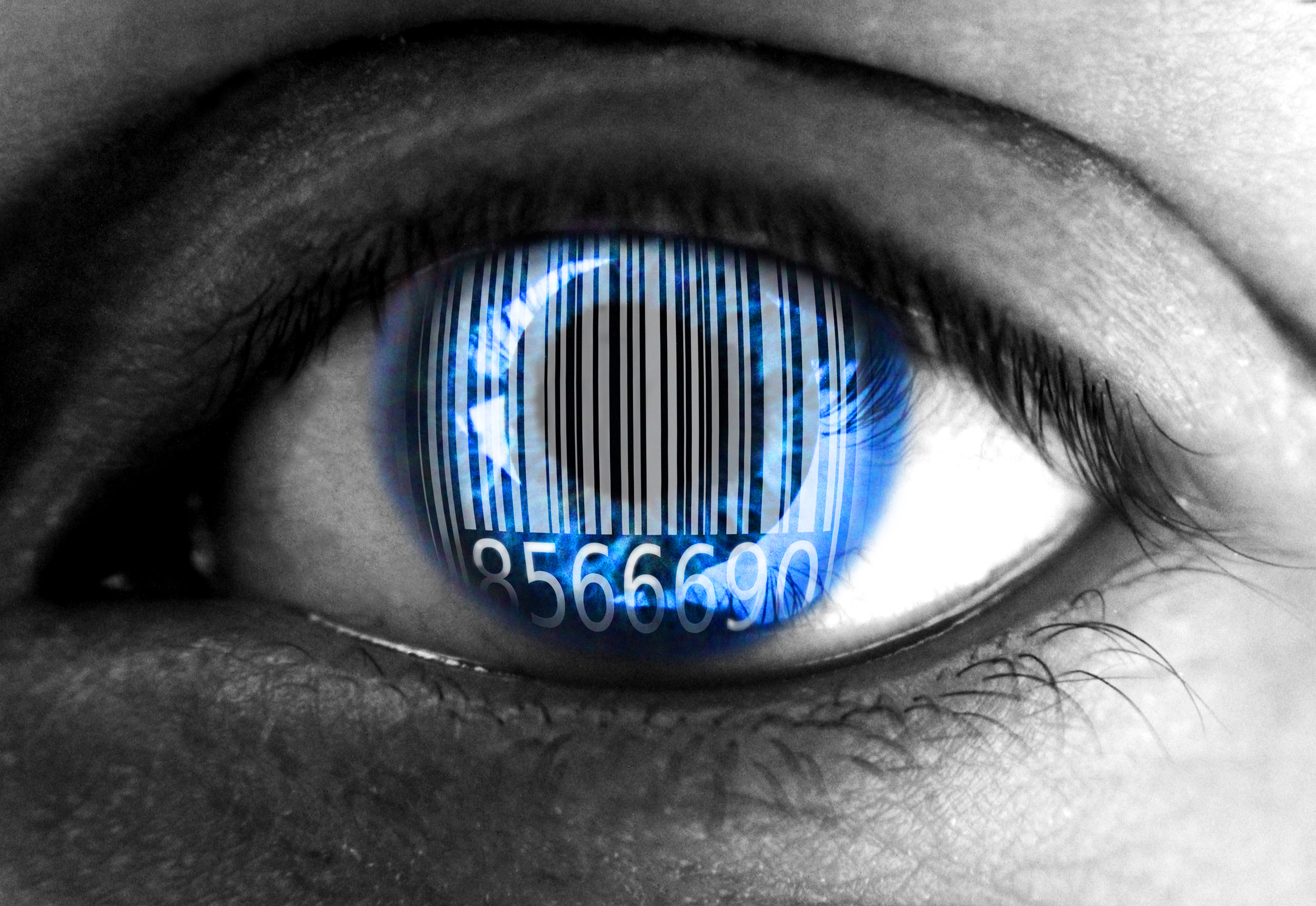 Human eye with barcode - Big data concept, 1, Numbers, Sale, Pupil, HQ Photo