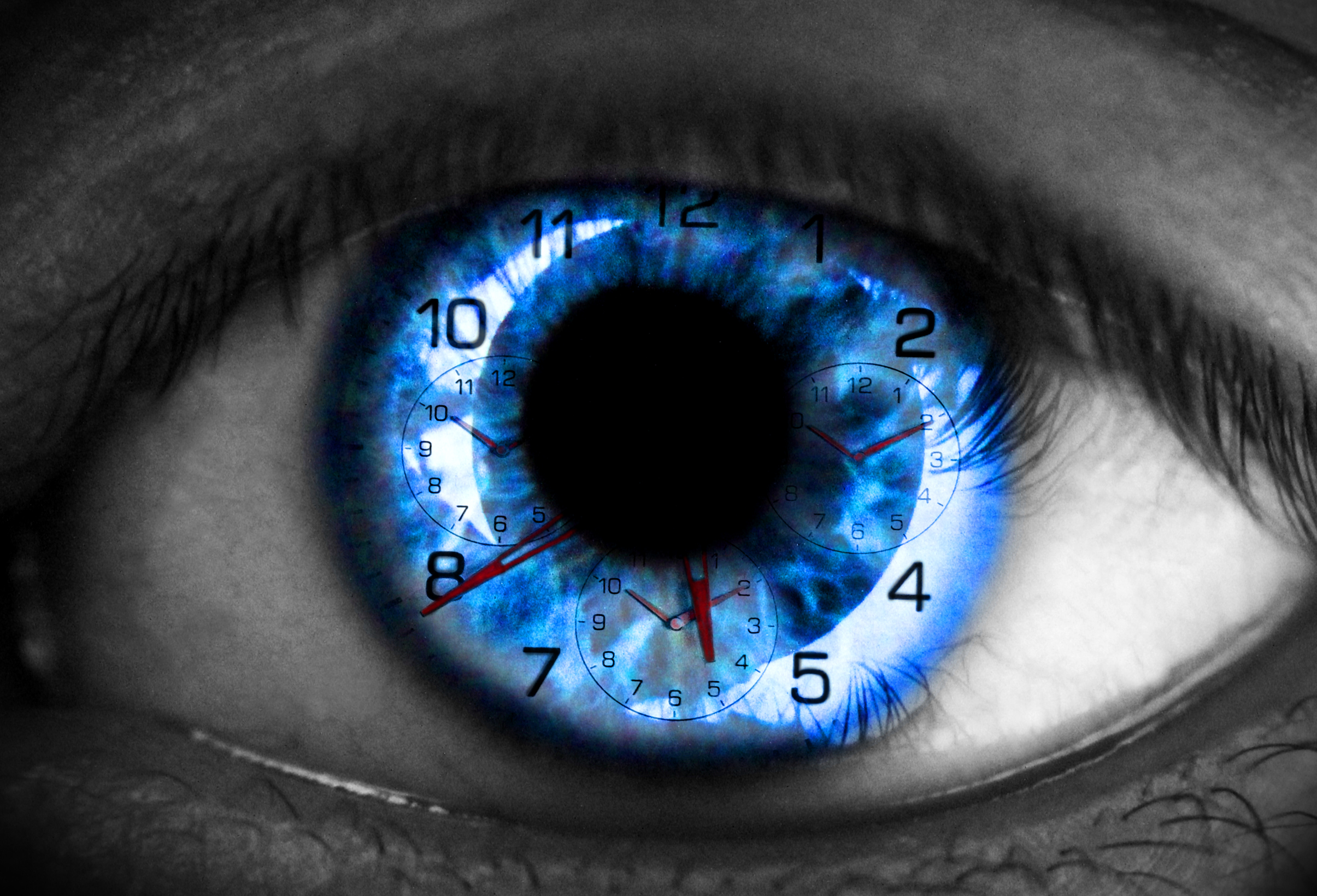 Human eye with clock - time concept photo