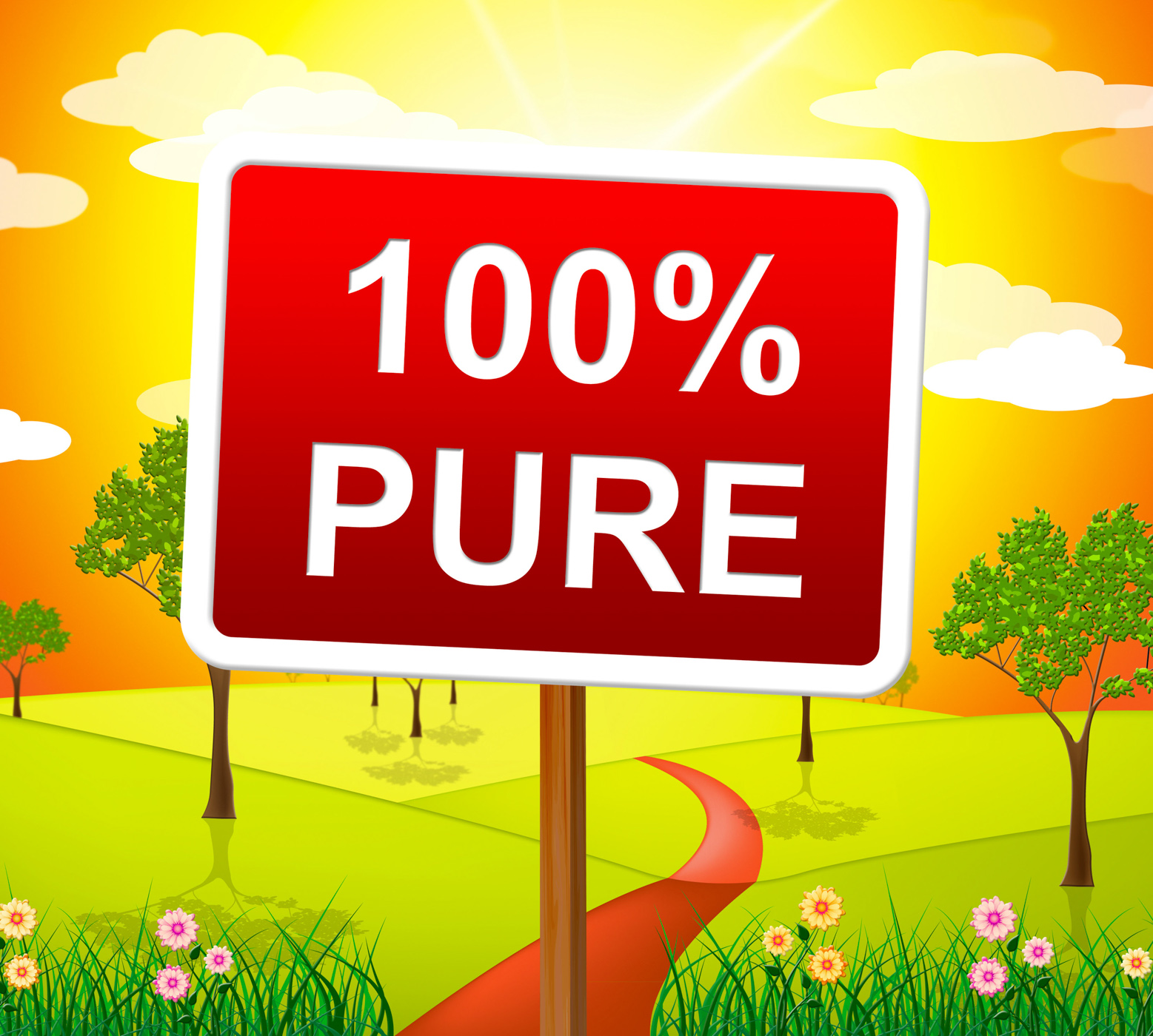 Hundred Percent Pure Shows Sign Unstained And Absolute, Absolute, Advertisement, Completely, Display, HQ Photo