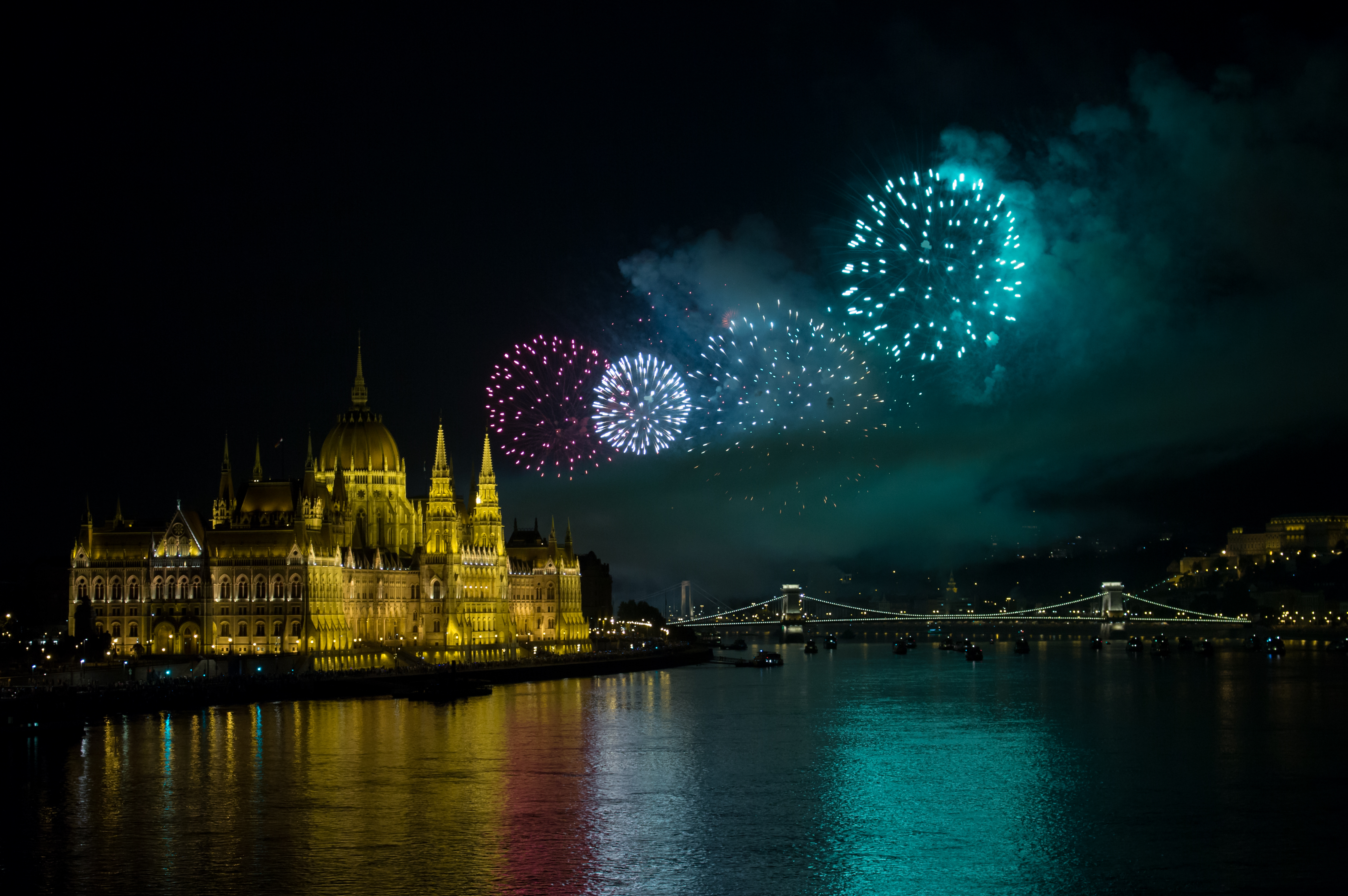 Hungary's statehood celebration, Boom, Bridge, Budapest, Celebration, HQ Photo