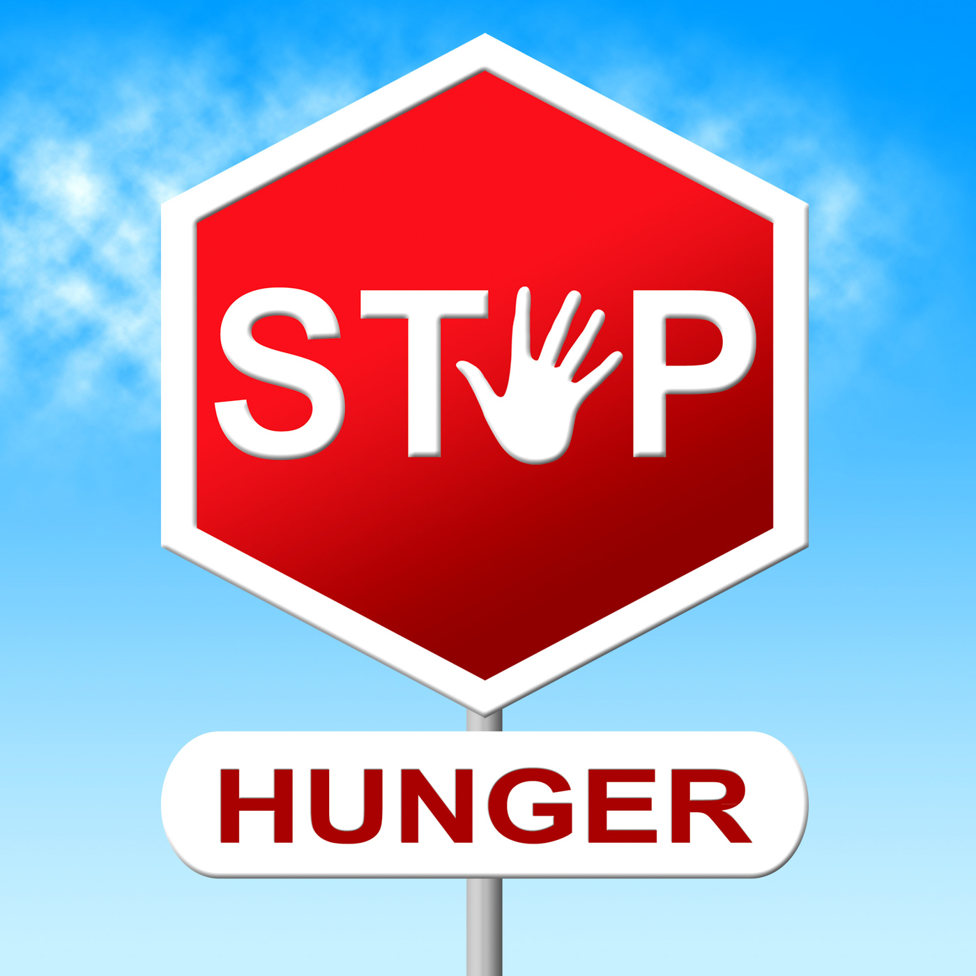 Hunger Stop Means Lack Of Food And Control, Caution, Warning, Undernourishment, Stopsign, HQ Photo