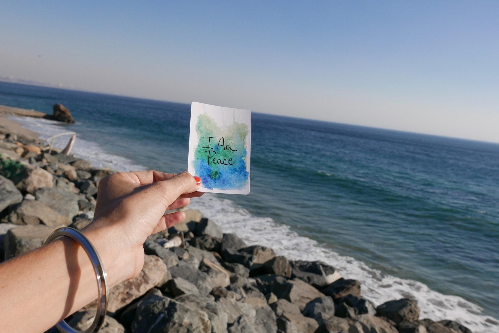I am peace watercolor card photo