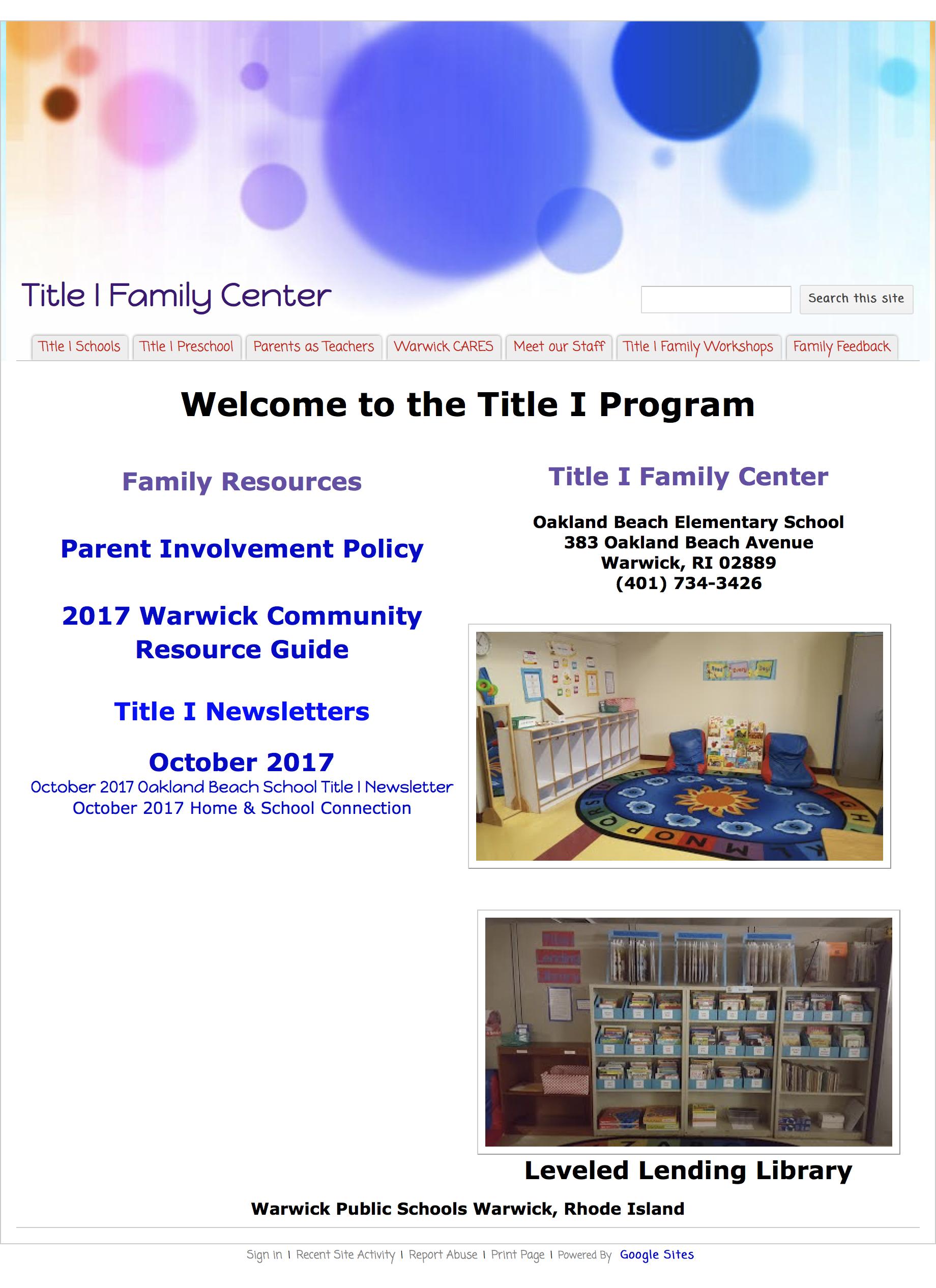 Title I Family Center | Warwick Public Schools