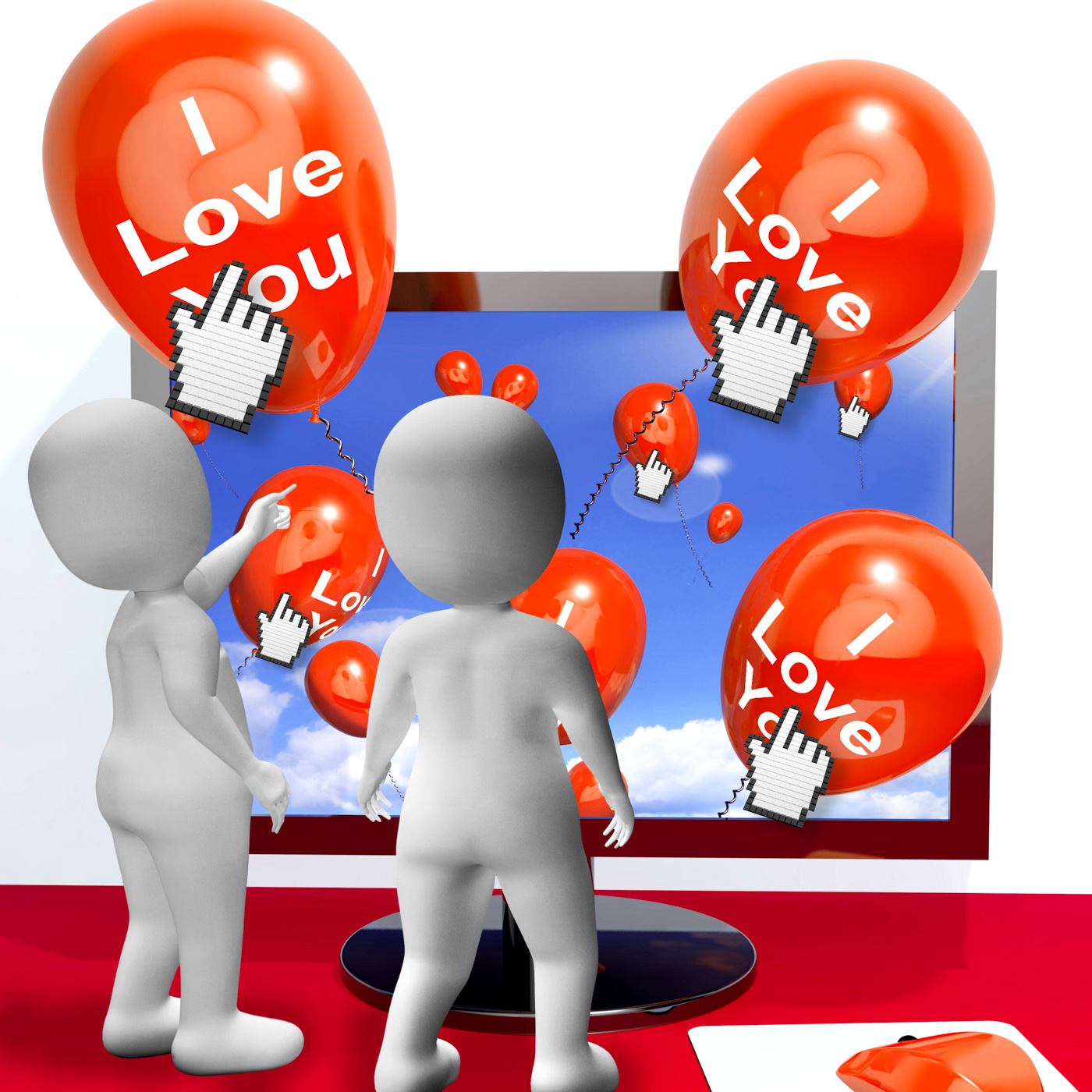 I love you balloons represent internet greetings for lovers photo