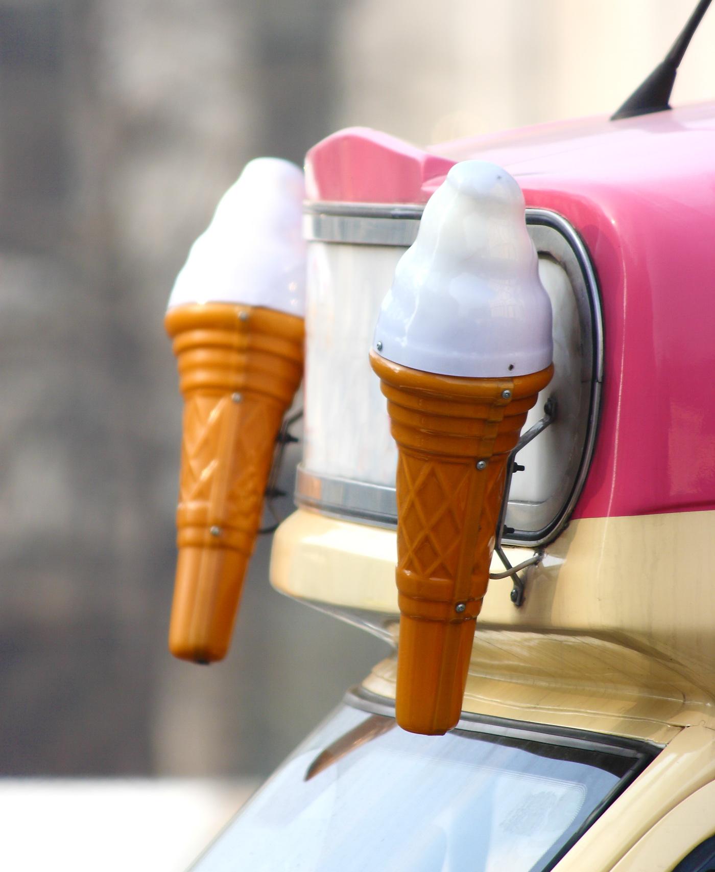 Ice cream cones on an ice cream van photo