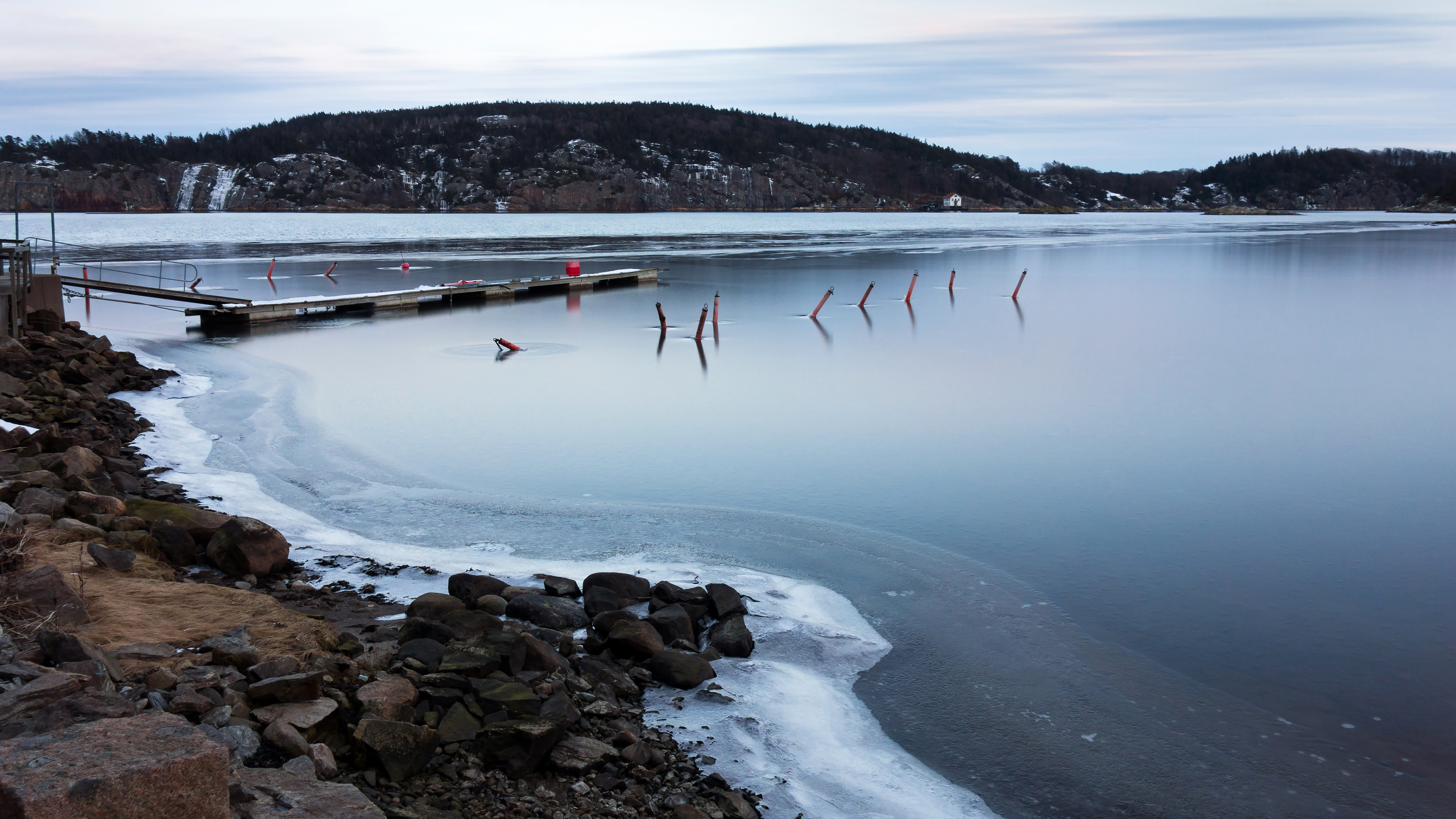 Ice on Gullmarn fjord at Holma boat club 7, Cloudy, Lysekil, Water, Snow, HQ Photo