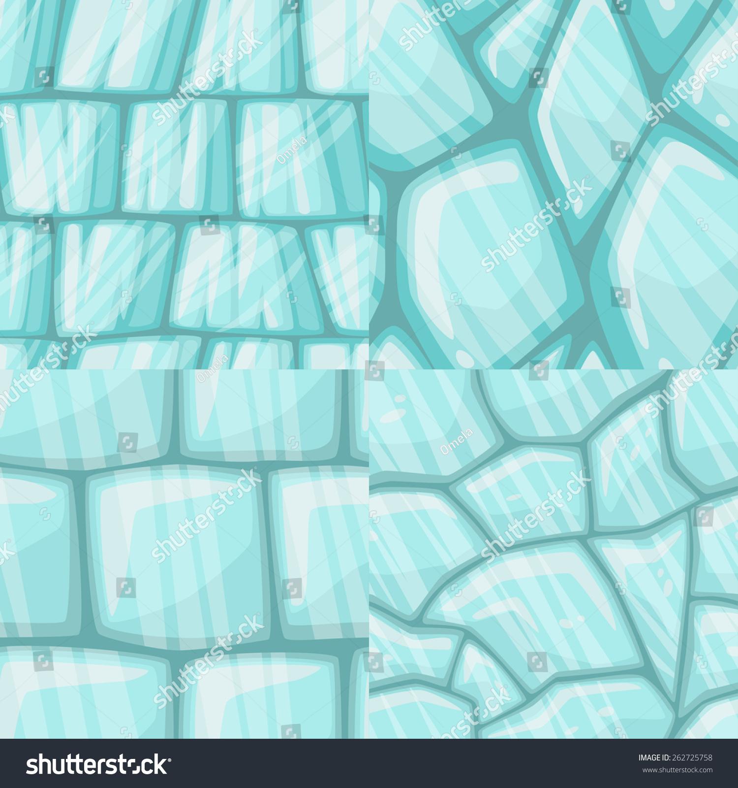 Vector Cartoon Ice Seamless Texture Collection Stock Vector ...