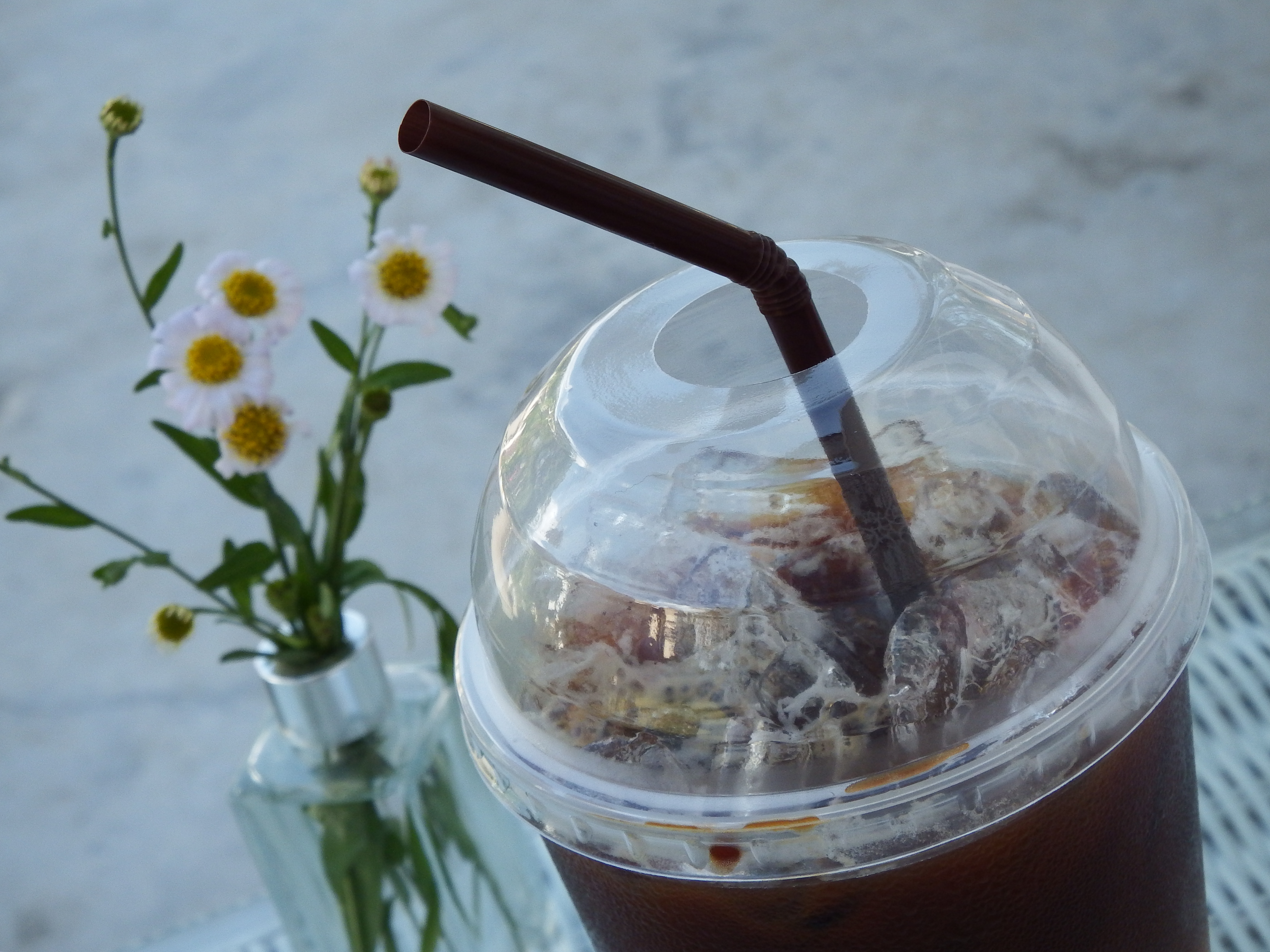 Iced coffee in the garden photo