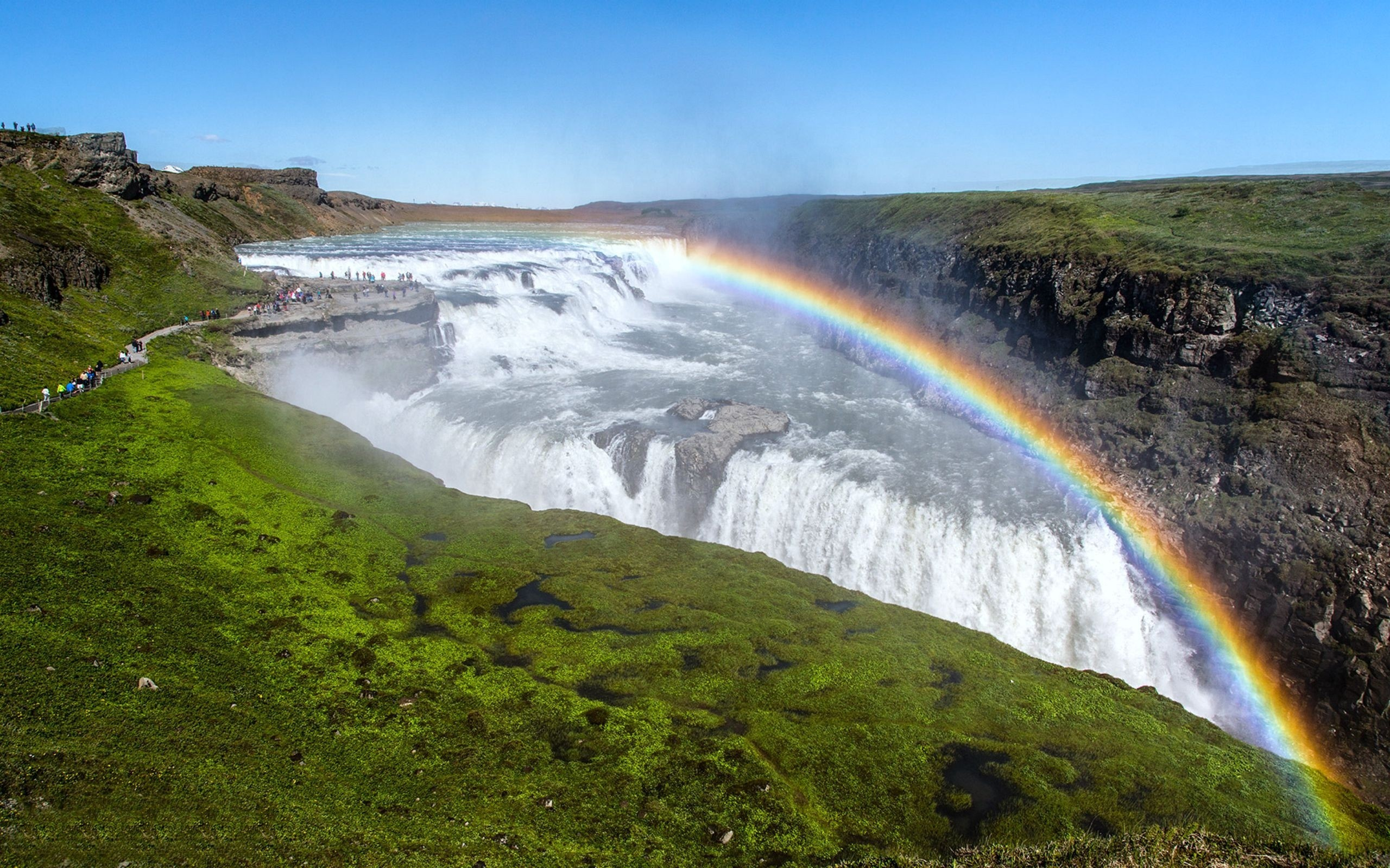 Gullfoss Waterfall with Rainbow in Iceland Wallpaper | HD Wallpapers