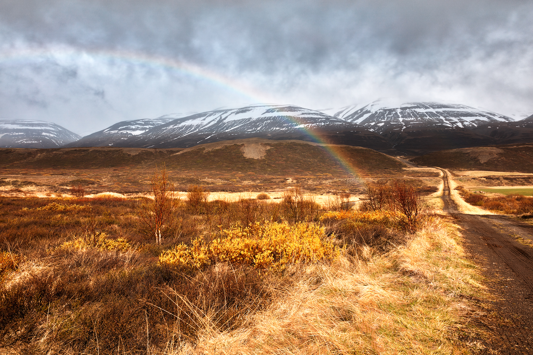 Iceland Mountain Rainbow, Arc, Perspective, Route, Road, HQ Photo