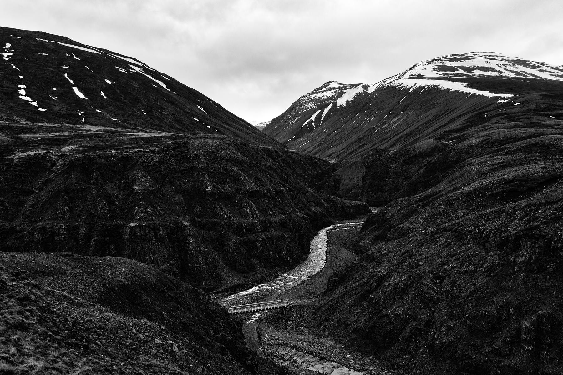 Iceland mountain river pass - black & white photo