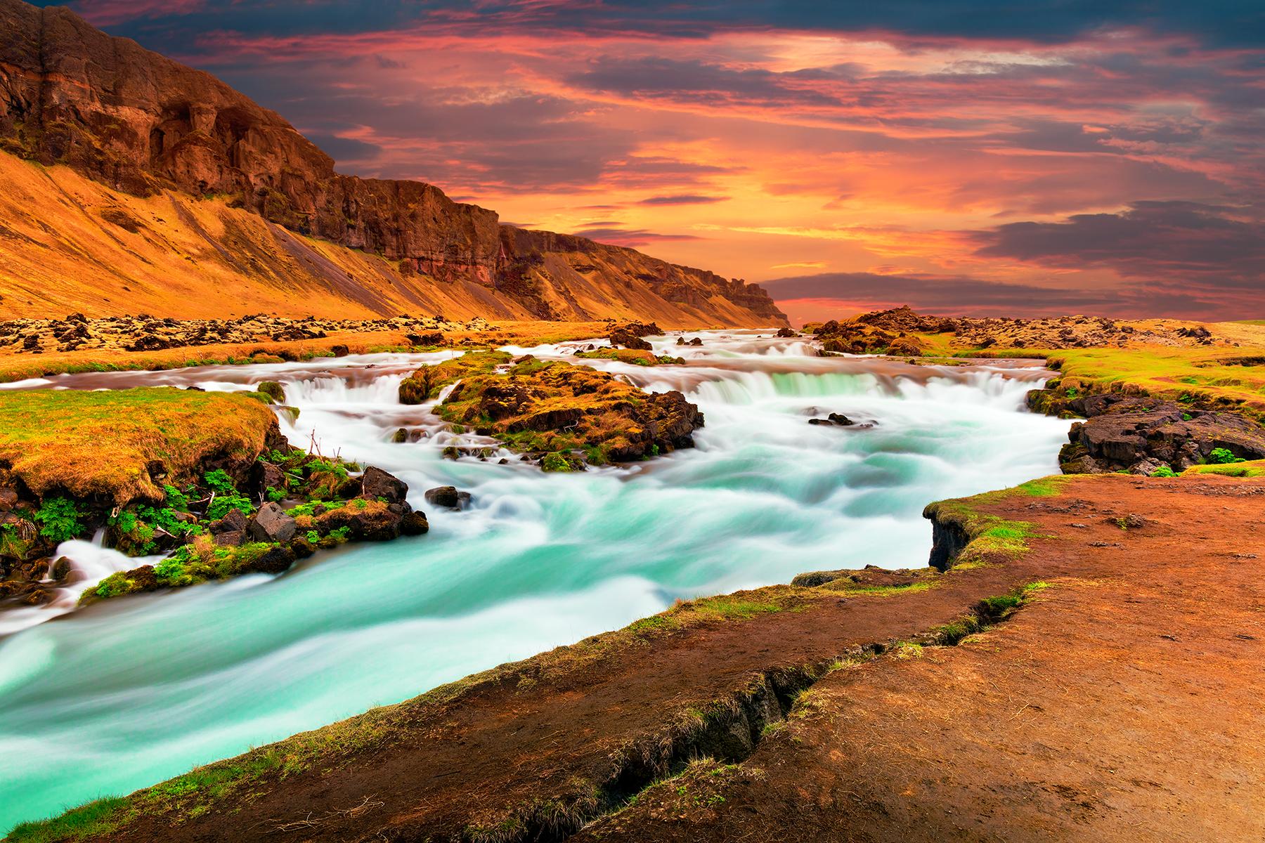 Iceland sunset silk stream photo