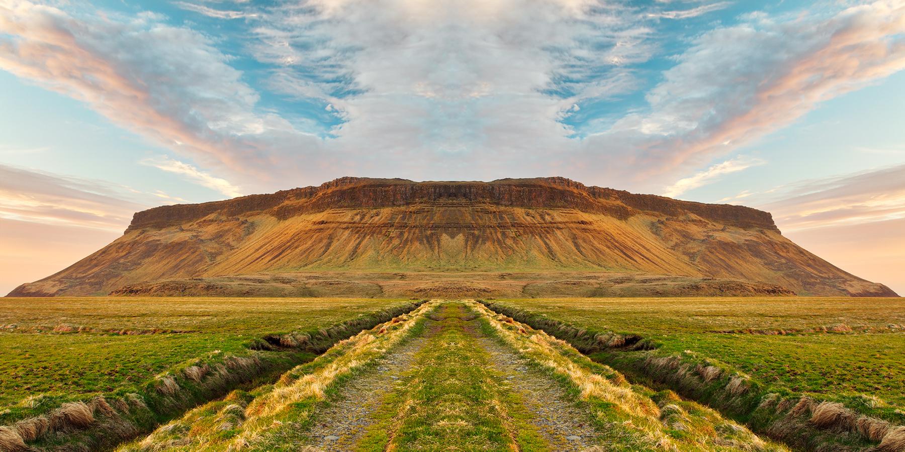 Iceland sunset symmetry trail photo