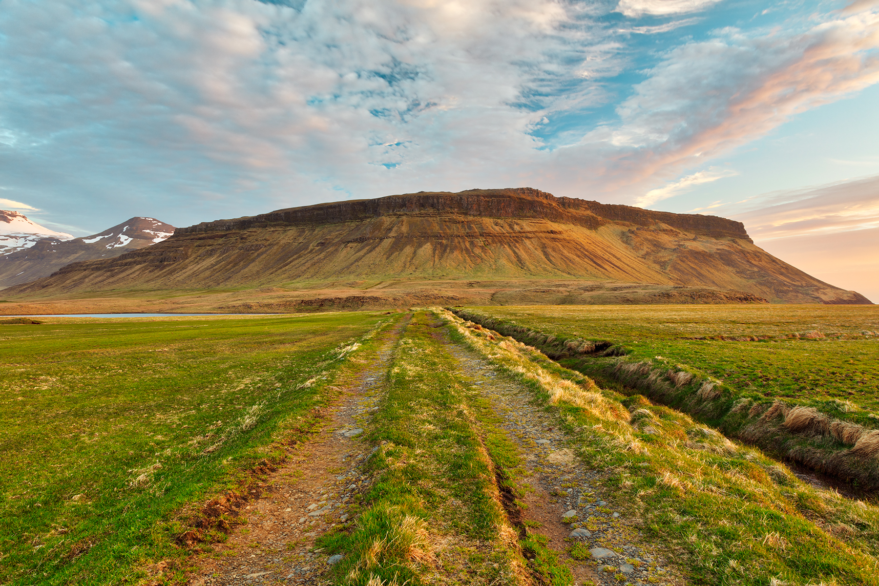 Iceland sunset tractor trail photo