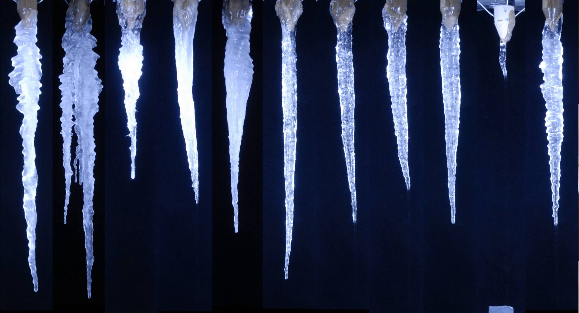 The growth of 11 random icicles from the Icicle Atlas (time lapse ...