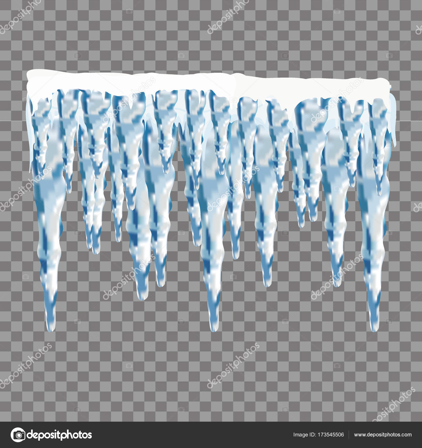 Set of snow icicles isolated on transparent background. Vector ...