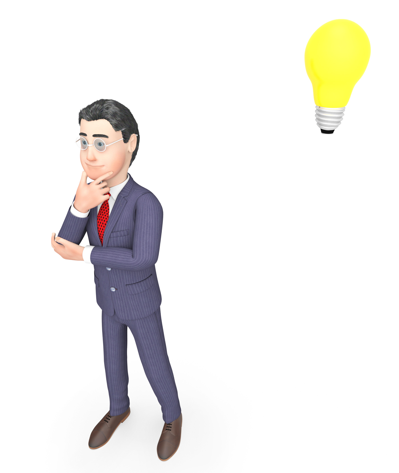 Idea lightbulb means think about it and businessman 3d rendering photo