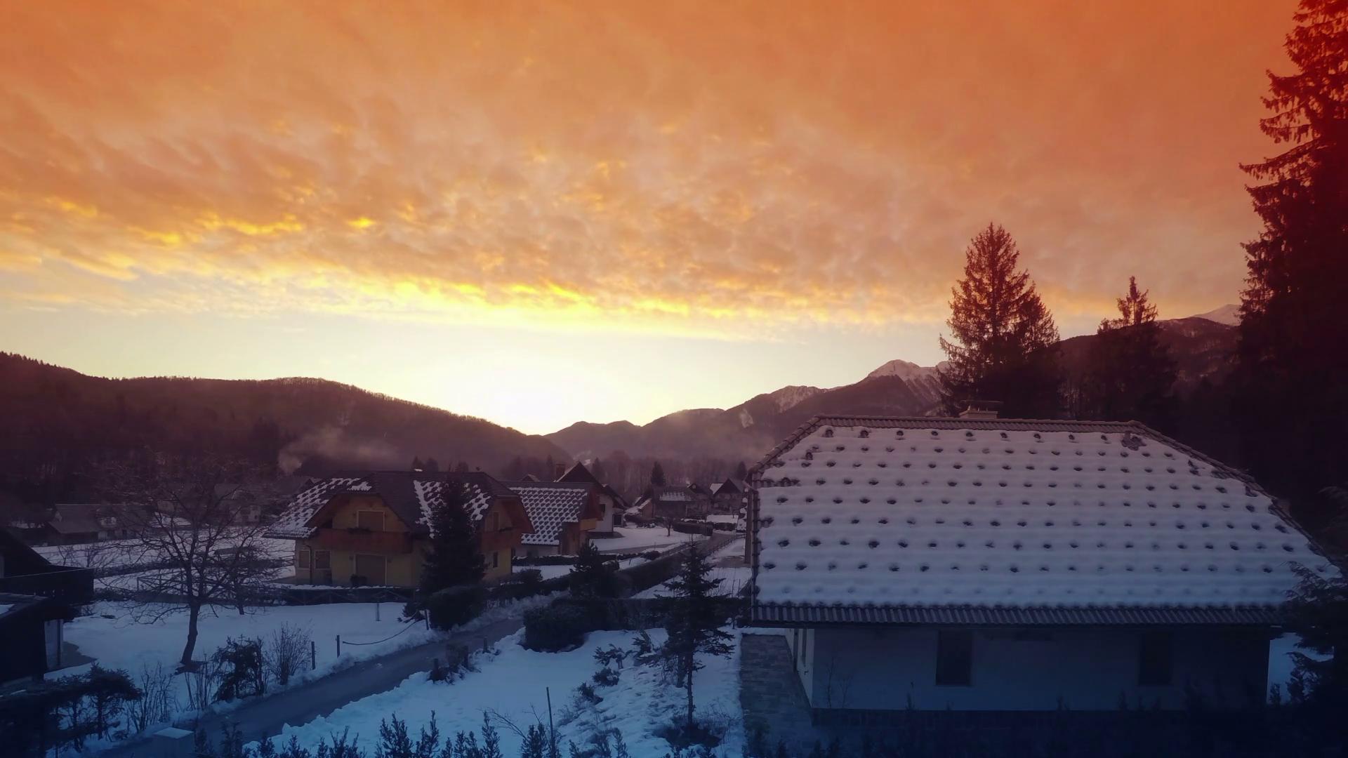 Idyllic winter sunrise photo