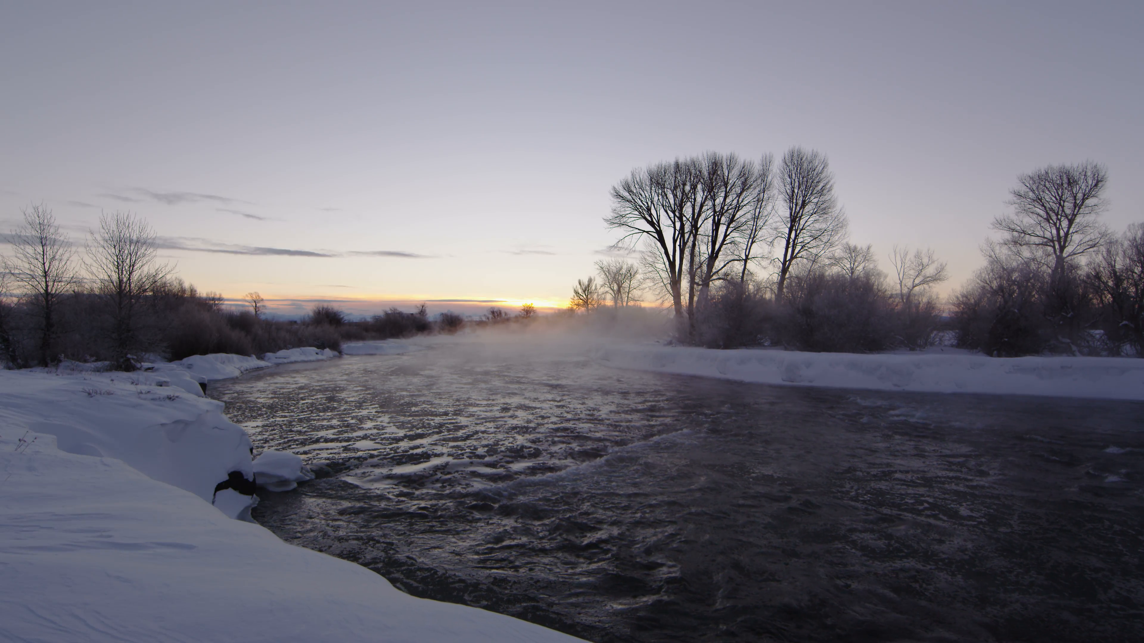 Sunrise on river in the winter Stock Video Footage - VideoBlocks