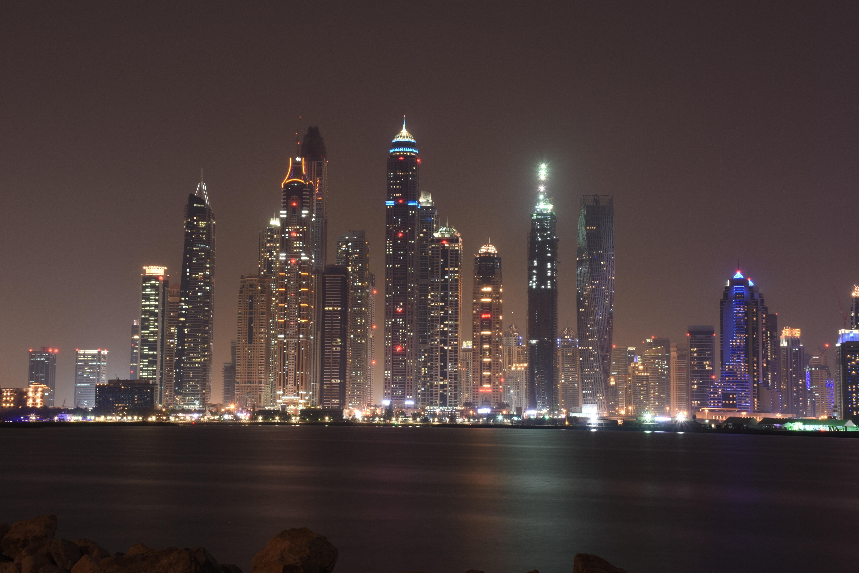 Illuminated city at night photo