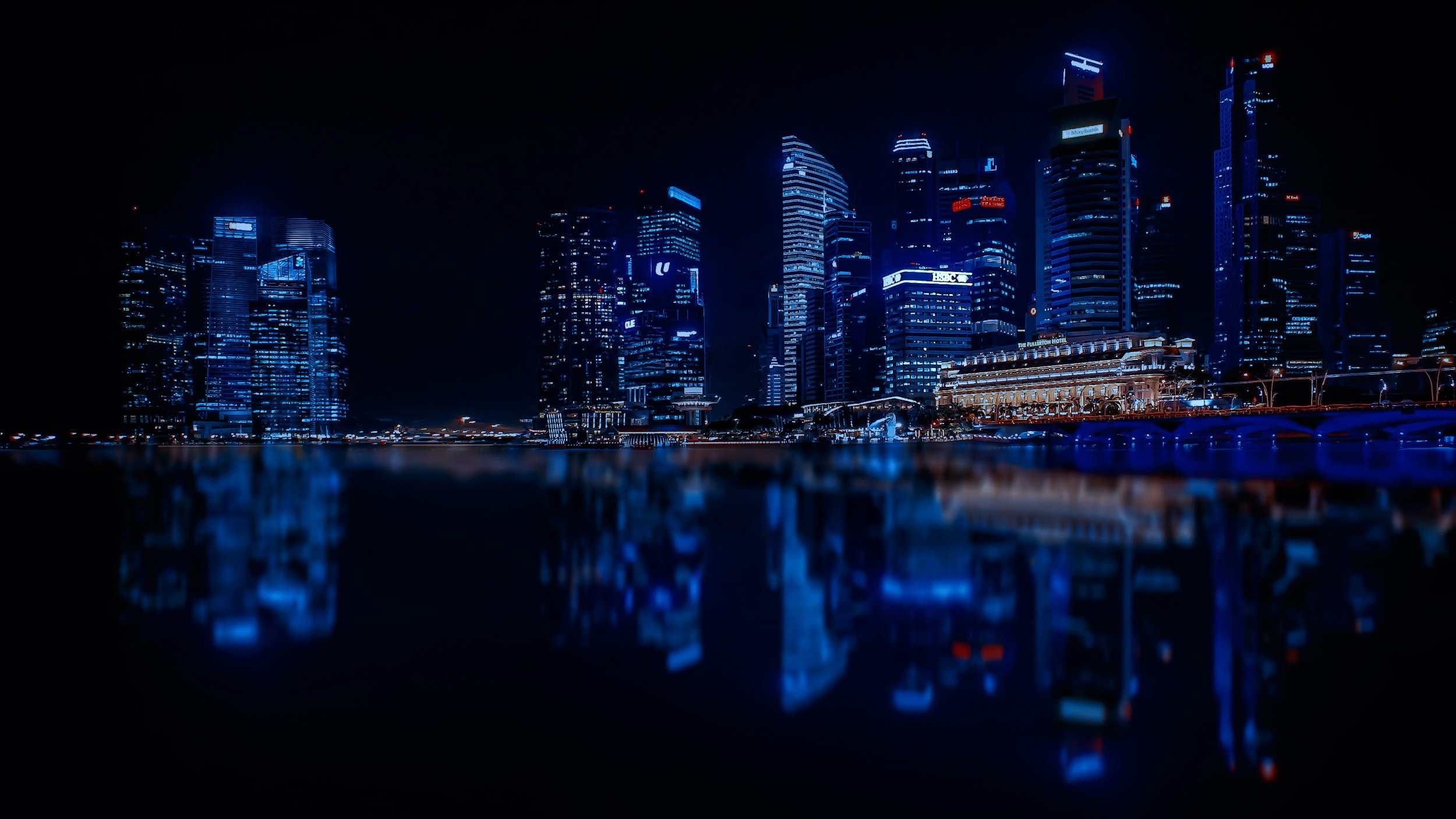 Illuminated Cityscape Against Blue Sky at Night, Skyscrapers, Offices, Outdoors, Pier, HQ Photo