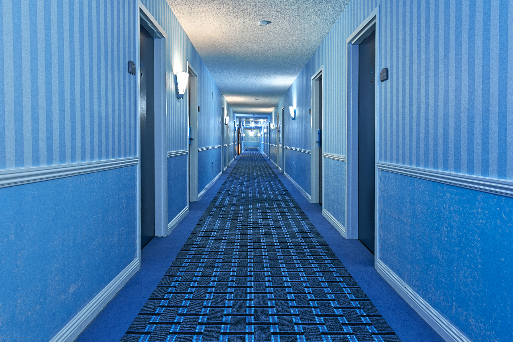 Illuminated Corridor - Cool Blue HDR, Accommodation, Outdoors, Range, Pretty, HQ Photo