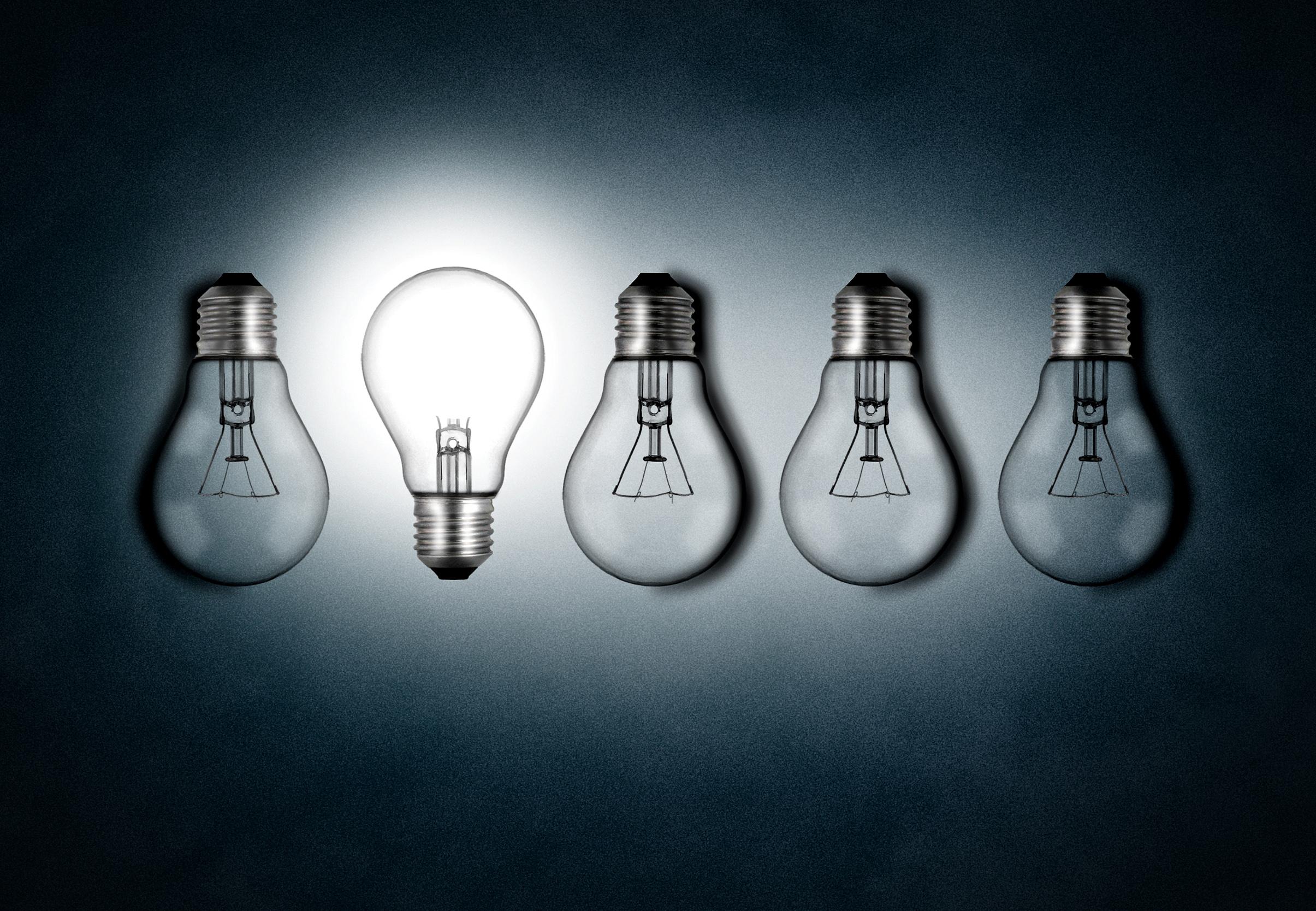 Illuminated lightbulb amid dim bulbs, Leadership, Objects, Object, New, HQ Photo