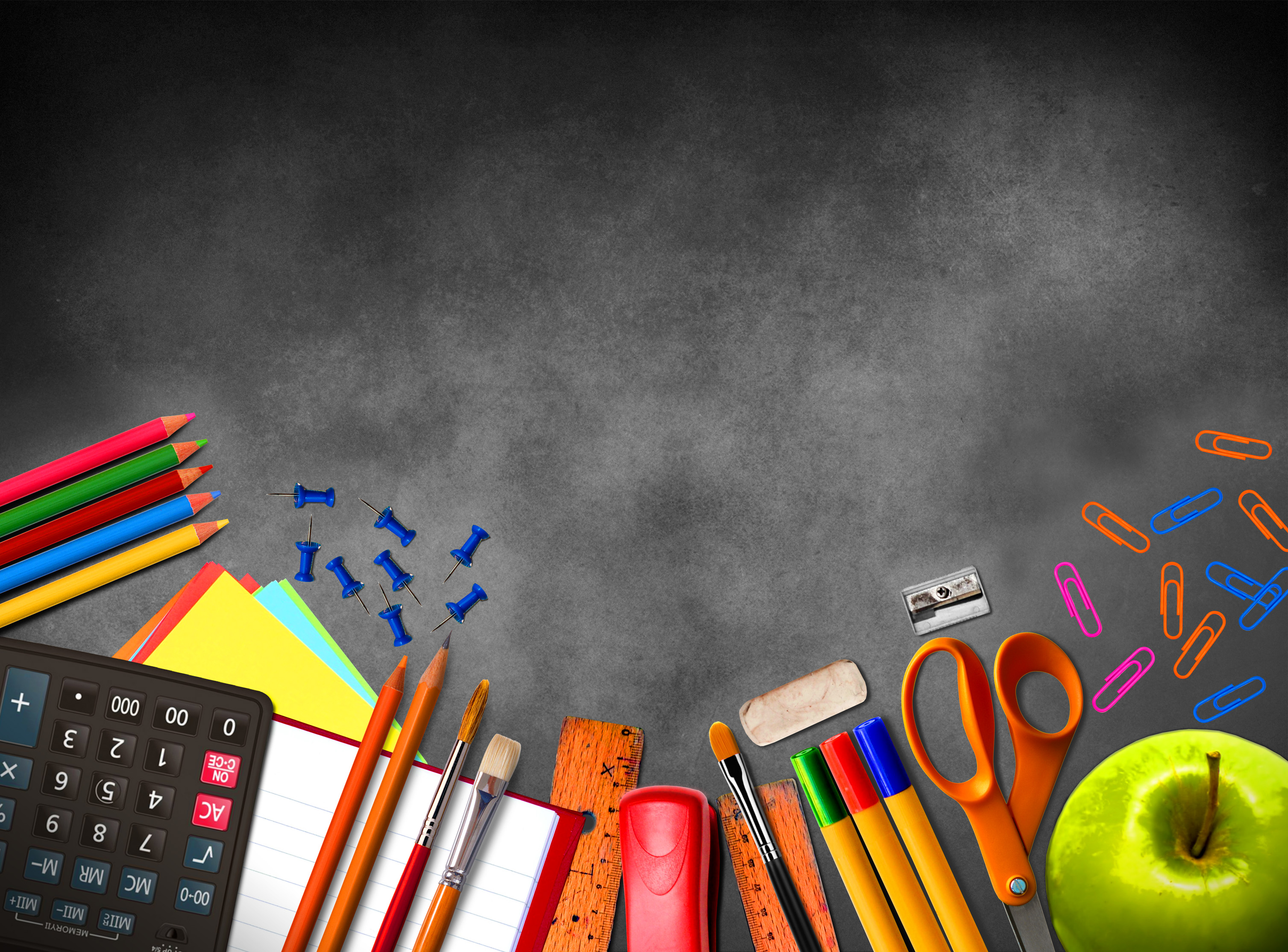 Illustration of school supplies and material on blackboard background, Above, Project, Pens, Picture, HQ Photo