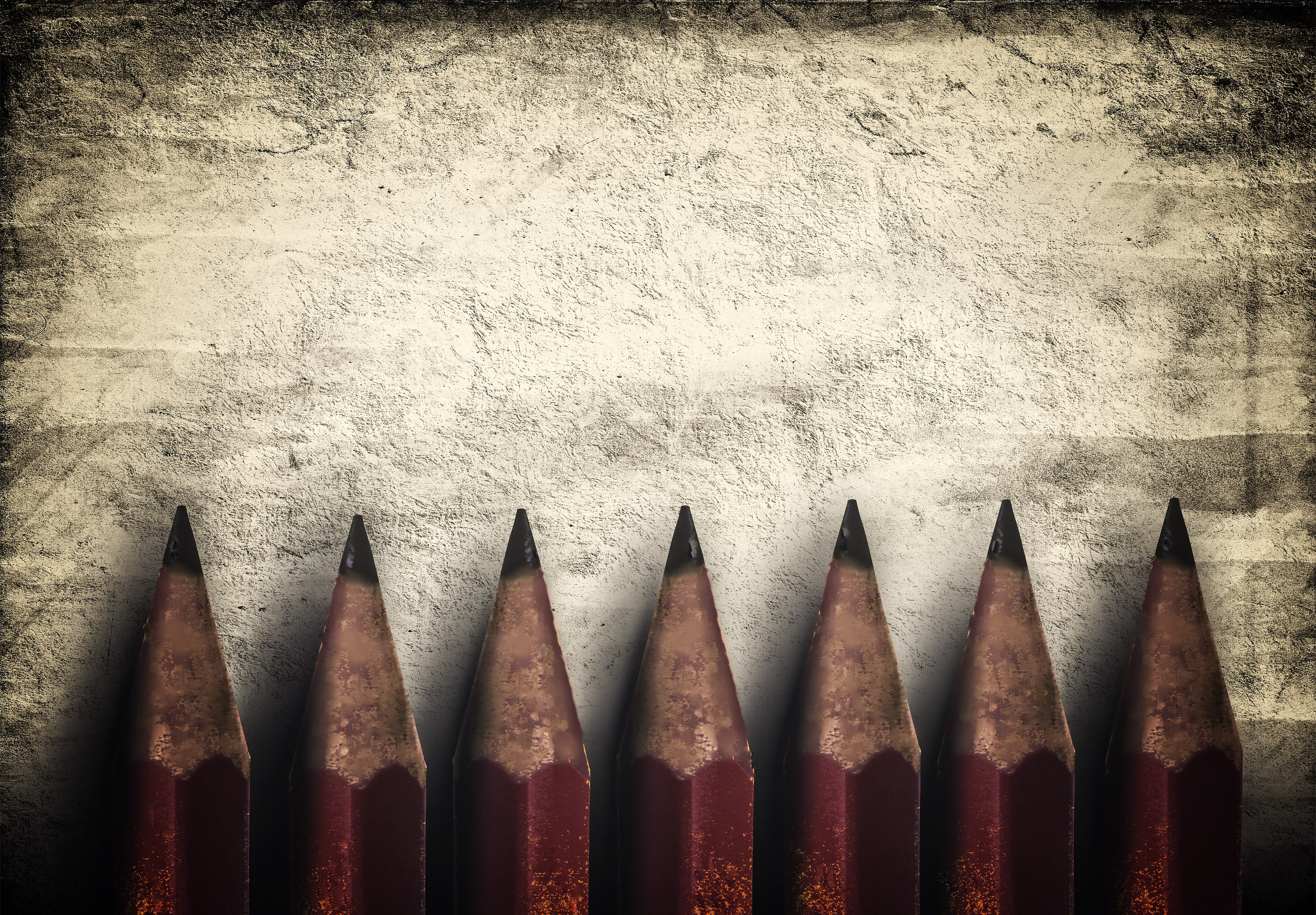 Illustration of vintage style red pencils over rough background photo