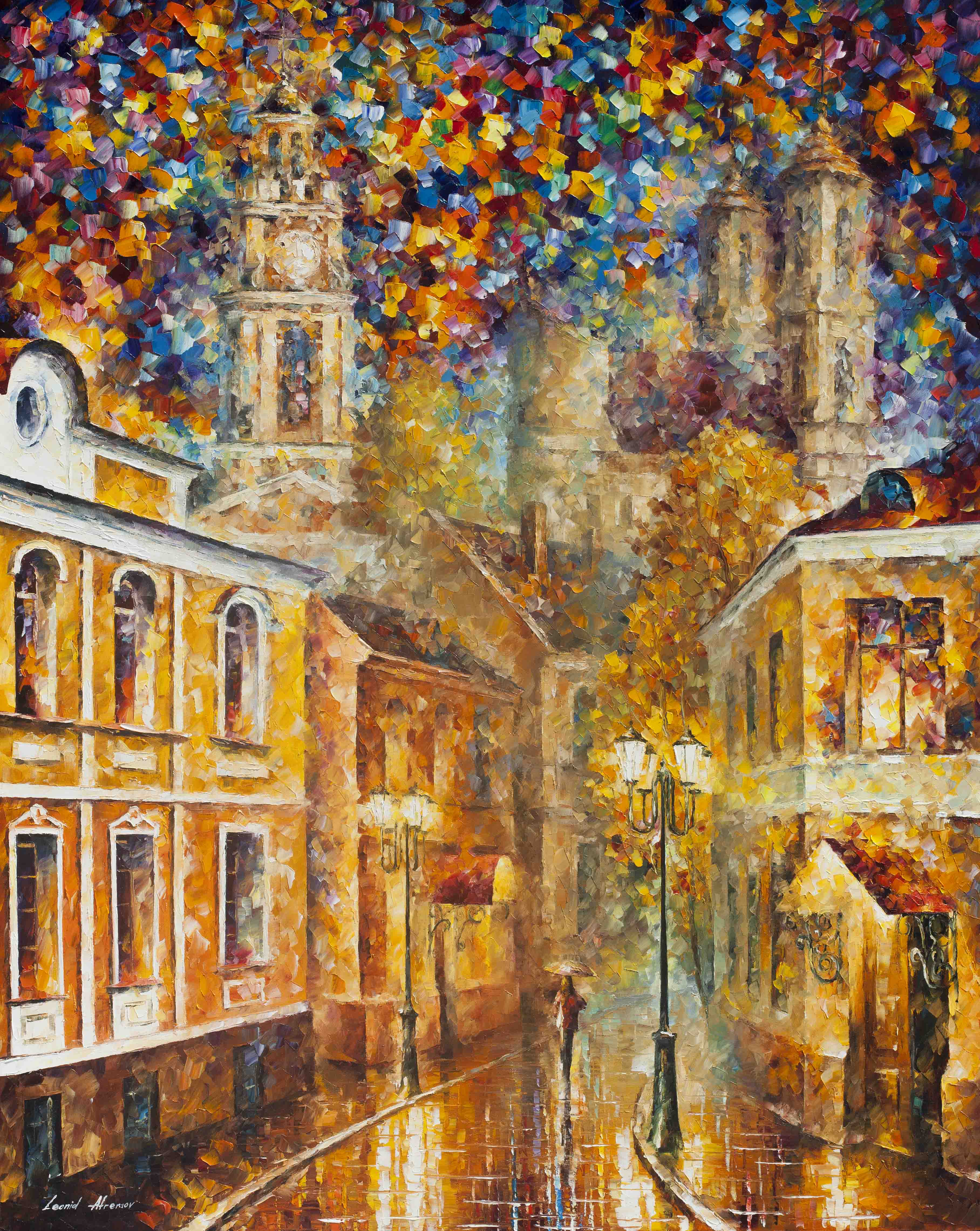GOLD CITY - PALETTE KNIFE Oil Painting On Canvas By Leonid Afremov ...